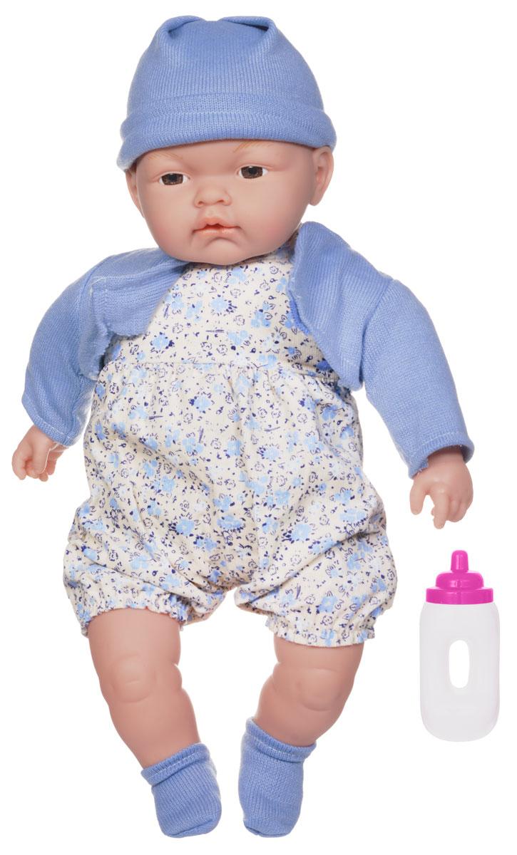 Joy Toy Пупс Мамина радостьK405-H43138Интерактивная кукла Joy Toy Мамина радость порадует вашу малышку и доставит ей много удовольствия от часов, посвященных игре с ней. Пупс выглядит как настоящий малыш. Он одет в аккуратно пошитый наряд, умеет пить из бутылочки. Малыш вызовет у вашей девочки массу положительных эмоций, а сюжетно-ролевая игра с такой игрушкой станет более насыщенной и интересной. Интерактивная кукла играет очень важную роль в психоэмоциональном развитии, с помощью игрушки ваша малышка научится проявлять заботу, нежность, сопереживание. Порадуйте свою принцессу таким великолепным подарком! Набор содержит пупса в одежде и бутылочку.