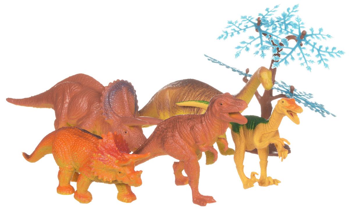 Megasaurs Набор фигурок Динозавры цвет коричневый оранжевый 5 штSV10690_коричневый, оранжевыйВ набор входят 5 различных фигурок динозавров и одно дерево, с которыми можно разыграть разнообразные игровые сюжеты, связанные с этим периодом, в котором жили одни динозавры. Фигурки изготовлены из высококачественных нетоксичных материалов, абсолютно безопасных для вашего малыша. Тема эпохи динозавров никогда не останется в прошлом! Каждый ребенок, так или иначе, интересовался этим доисторическим миром и мечтал о своем собственном динозавре. Удивительные фигурки динозавров с высокой детализацией и тщательной проработкой элементов не оставят равнодушным ни одного ребенка. Ваш ребенок часами будет играть с такой игрушкой, придумывая различные истории.
