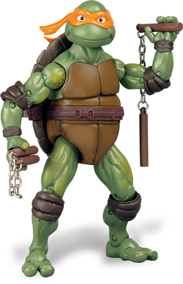 Черепашки Ниндзя Фигурка классическая Микеланджело91090Фигурка Turtles Микеланджело станет прекрасным подарком для вашего ребенка. Она выполнена из прочного пластика в виде персонажа команды TMNT - Черепашки-Ниндзя. Голова, руки, ноги и верхняя часть туловища фигурки подвижны, что позволит придавать Микеланджело различные позы. В комплект входит детализированное оружие и именная подставка в виде крышки люка. Ваш ребенок будет часами играть с этой фигуркой, придумывая различные истории с участием любимого героя. Они подверглись мутации и обучались искусству ниндзюцу у великого сэнсэя Сплинтера. Черепашки-Ниндзя готовы выбраться из своего секретного убежища и спасти мир от сил зла! Черепашки-Ниндзя впервые появились на страницах комиксов в далеких 80-х. Черепашки перебрались на телевидение по воле студии Murakami-Wolf-Swenson (MWS) и продолжали радовать своих поклонников в течение десяти лет (1987-1996). 5 лет подряд были признаны сериалом №1. За это время было показано более 190 эпизодов, а озорные и веселые герои...