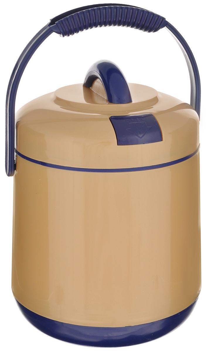 Термос пищевой Mayer & Boch, цвет: бежевый, синий, 1,9 л905Пищевой термос Mayer & Boch предназначен для хранения и переноски горячих и холодных пищевых продуктов. Корпус выполнен из высококачественного пластика. Внутренняя колба изготовлена из нержавеющей стали. Наполнение из жесткого пенопласта сохраняет температуру и свежесть пищи на протяжении 4-5 часов. Пища сохраняет аромат, вкус и питательные вещества. Внутрь вставляется специальная металлическая чаша с прозрачной пластиковой крышкой. В комплекте также предусмотрены ложка и вилка, которые хранятся в крышке. Такой термос - идеальный вариант для домашнего использования, для отдыха на природе или поездки. Элегантный и стильный дизайн подходит для любого случая. Диаметр термоса (по верхнему краю): 15 см. Высота термоса (без учета крышки): 18,5 см. Диаметр контейнера: 13,5 см. Высота контейнера: 4,5 см. Длина ложки/вилки: 14 см.