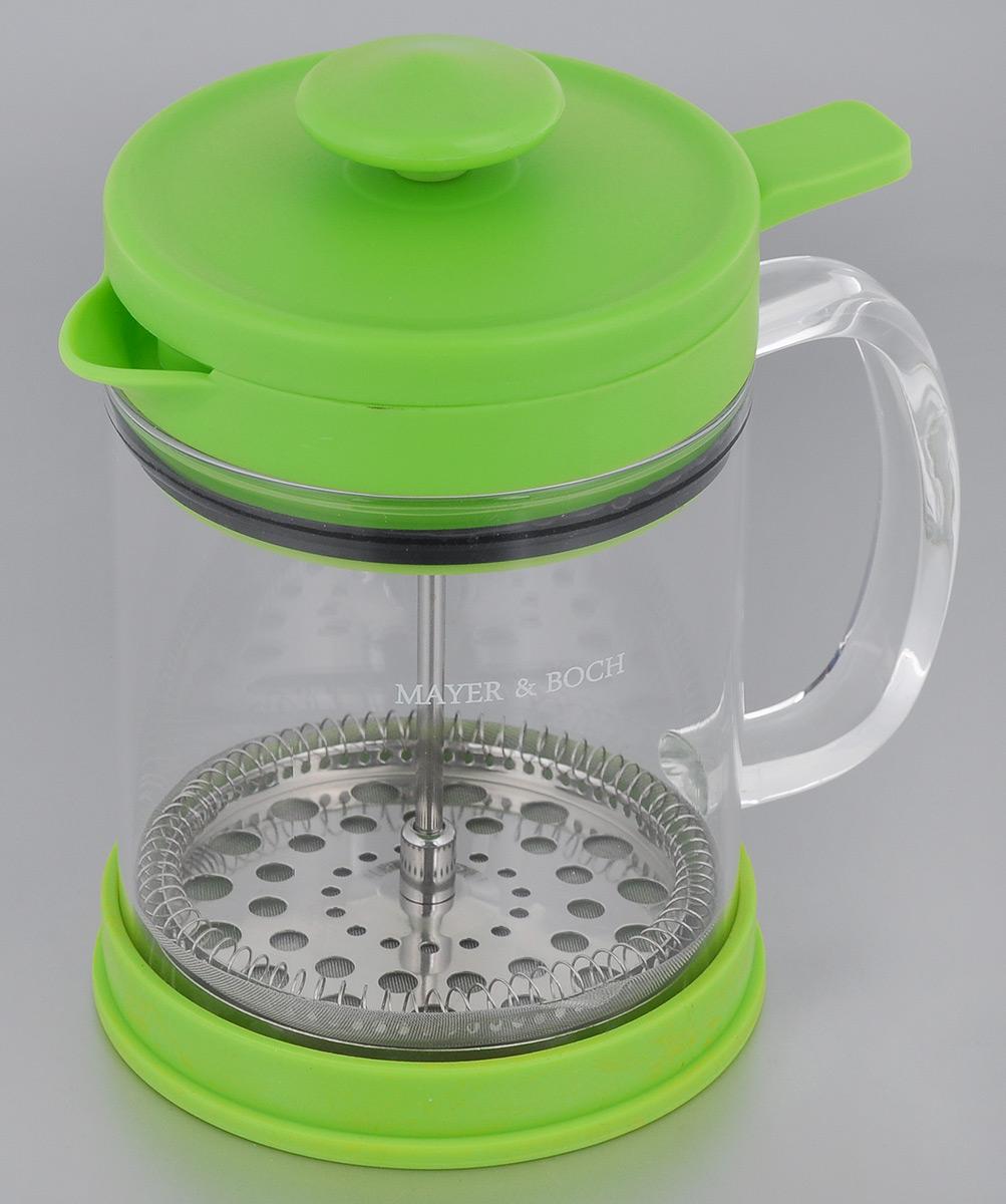 Френч-пресс Mayer & Boch, цвет: зеленый, 600 мл. 2126321263Френч-пресс Mayer & Boch позволит быстро и просто приготовить свежий и ароматный кофе или чай. Цветовая гамма подойдет даже для самого яркого интерьера. Френч-пресс изготовлен из высокотехнологичных материалов на современном оборудовании: - корпус изготовлен из высококачественного жаропрочного стекла, устойчивого к окрашиванию и царапинам; - фильтр-поршень из нержавеющей стали выполнен по технологии press-up для обеспечения равномерной циркуляции воды; - яркая подставка из инертного силикона препятствует скольжению френч-пресса. Практичный и стильный дизайн френч-пресса Mayer & Boch полностью соответствует последним модным тенденциям в создании предметов бытового назначения.