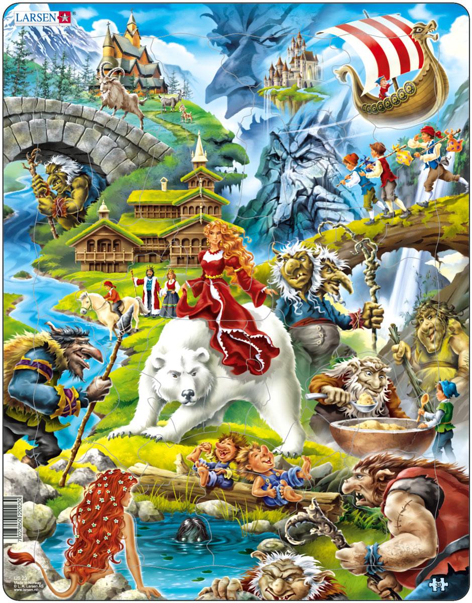 Larsen Пазл Сказочные героиUS23Пазл Larsen Сказочные герои проведет вас в удивительную волшебную страну, полную сказочных персонажей. Здесь вы встретите страшных троллей, чудесный замок, корабль викингов, прекрасных принцесс и других героев скандинавских сказок. Выполненные из высококачественного трехслойного картона, пазлы не деформируются и легко берутся в руки. Все пазлы снабжены специальной подложкой, благодаря чему их удобно собирать. Размер готового пазла: 36,5 см х 28,5 см.