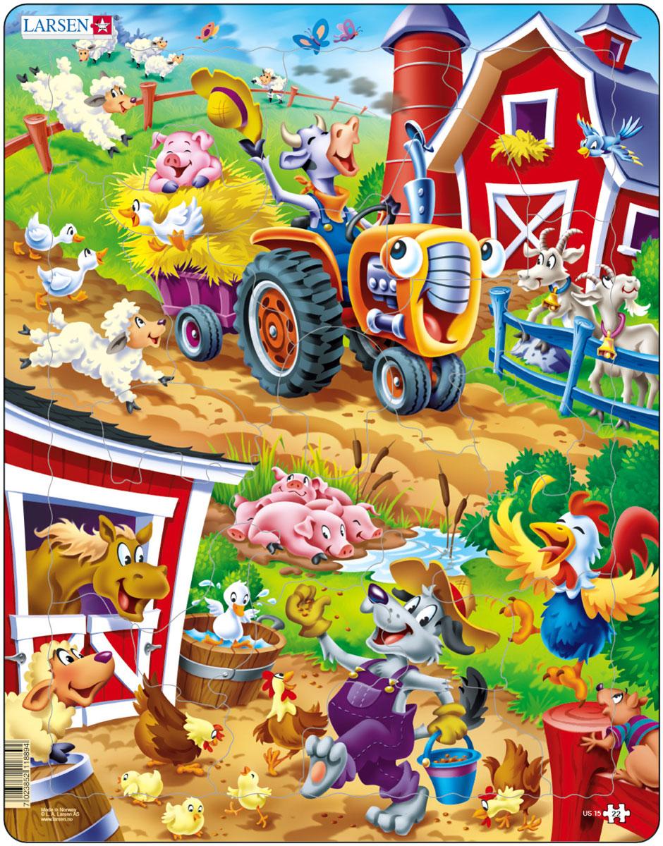 Larsen Пазл Скотный дворUS15Пазл Larsen Скотный двор покажет, какие животные бывают на ферме, и как весело они проводят там время. Выполненные из высококачественного трехслойного картона, пазлы не деформируются и легко берутся в руки. Все пазлы снабжены специальной подложкой, благодаря чему их удобно собирать. Размер готового пазла: 36,5 см х 28,5 см.