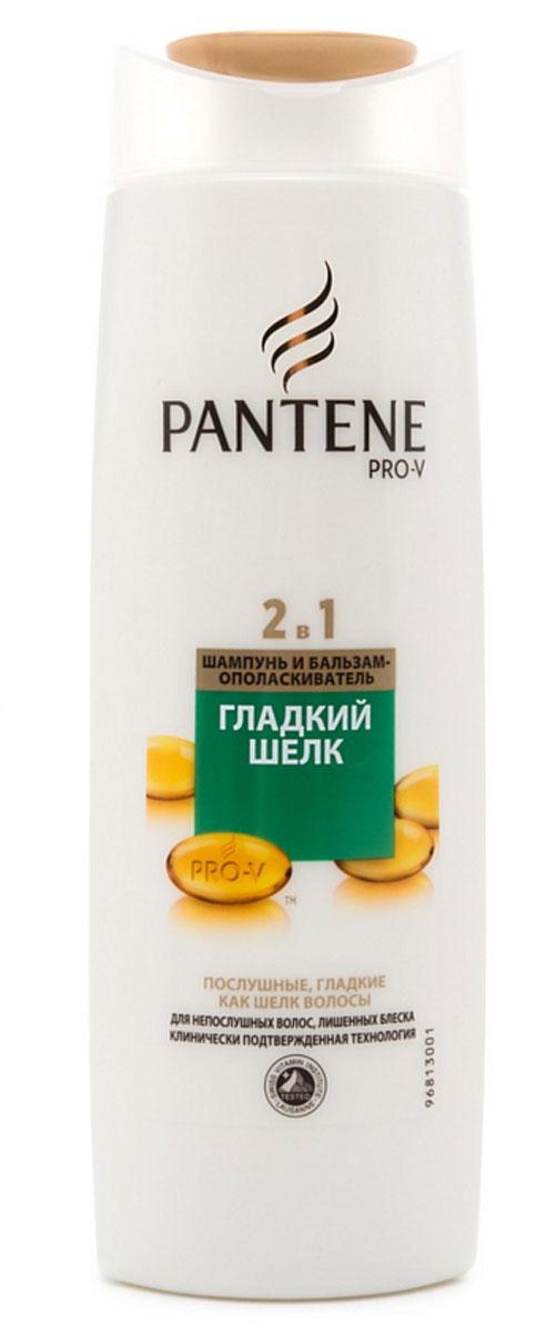 Шампунь Pantene Pro-V 2в1 Гладкий шелк, 400 млPT-81242258Шампунь Pantene Pro-V 2в1 Гладкий шелк предназначен для непослушных, жестких или вьющихся волос. Питающая провитаминная формула делает волосы гладкими, мягкими и шелковистыми, придает волосам эластичность и делает их максимально послушными. Равномерно восстанавливает структуру волос, действуя от корней до кончиков.