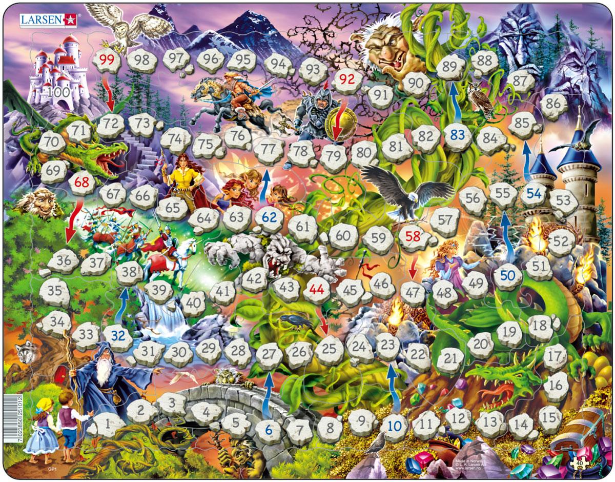 Larsen Пазл-игра Волшебное королевствоGP1Пазл Larsen Волшебное королевство это и красочный пазл, и интересная настольная игра. Бросайте кубики и отправляйтесь в увлекательное путешествие, ваша цель - сказочный замок. Путь будет пролегать через волшебный лес, полный сказочных персонажей - летучих мышей, троллей, рыцарей, драконов и эльфов. По пути вас могут ждать сюрпризы, если вы попадаете на красную стрелку - вам необходимо вернутся на пару ходов назад, а если вы попадаете на синюю стрелку - то можно продвинуться вперед. Соберите пазл и пройдите путь от 1 до 100! Кто окажется первым в замке? Выполненные из высококачественного трехслойного картона, пазлы не деформируются и легко берутся в руки. Все пазлы снабжены специальной подложкой, благодаря чему их удобно собирать. Размер готового пазла: 36,5 см х 28,5 см.