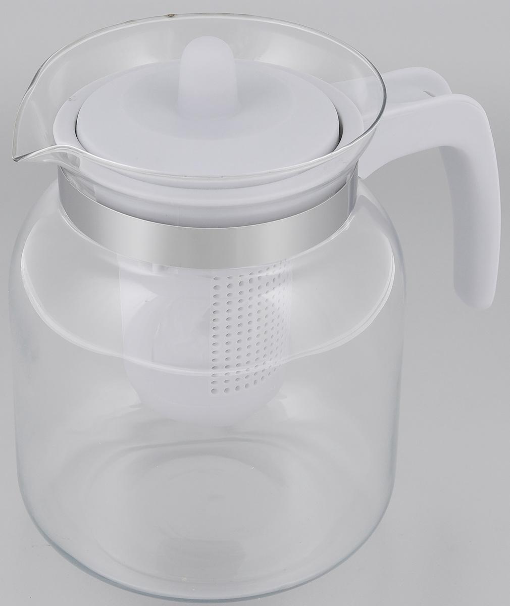 Чайник-кувшин Menu Чабрец, с фильтром, цвет: прозрачный, серый, 1,45 лCHZ-14_серЧайник-кувшин Menu Чабрец изготовлен из прочного стекла, которое выдерживает температуру до 100 °C. Он прекрасно подойдет для заваривания чая и травяных настоев. Классический стиль и оптимальный объем делают чайник удобным и оригинальным аксессуаром, который прекрасно подойдет для ежедневного использования. Ручка изделия выполнена из пищевого пластика, она не нагревается и обеспечивает безопасность использования. Благодаря съемному ситечку и оптимальной форме колбы, чайник- кувшин Menu Чабрец идеально подходит для использования его в качестве кувшина для воды и прохладительных напитков. Диаметр чайника по верхнему краю: 10,3 см. Общий диаметр чайника: 11 см. Высота чайника (без учета ручки и крышки): 15,6 см. Высота чайника (с учетом ручки и крышки): 17 см.