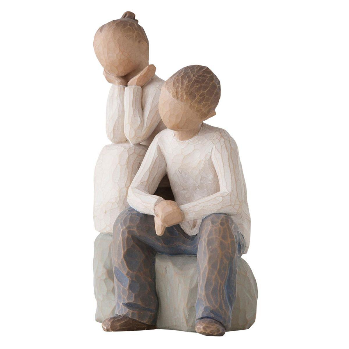 Фигурка Willow Tree Брат и сестра, 14 см26187Эти прекрасные статуэтки созданы канадским скульптором Сьюзан Лорди. Каждая фигурка – это настоящее произведение искусства, образная скульптура в миниатюре, изображающая эмоции и чувства, которые помогают нам чувствовать себя ближе к другим, верить в мечту, выражать любовь. Каждая фигурка помещена в красивую упаковку. Купить такой оригинальный подарок, значит не только украсить интерьер помещения или жилой комнаты, но выразить свое глубокое отношение к любимому человеку. Этот прекрасный сувенир будет лучшим подарком на день ангела, именины, день рождения, юбилей. Материал: Искусственный камень (49% карбонат кальция мелкозернистой разновидности, 51% искусственный камень)