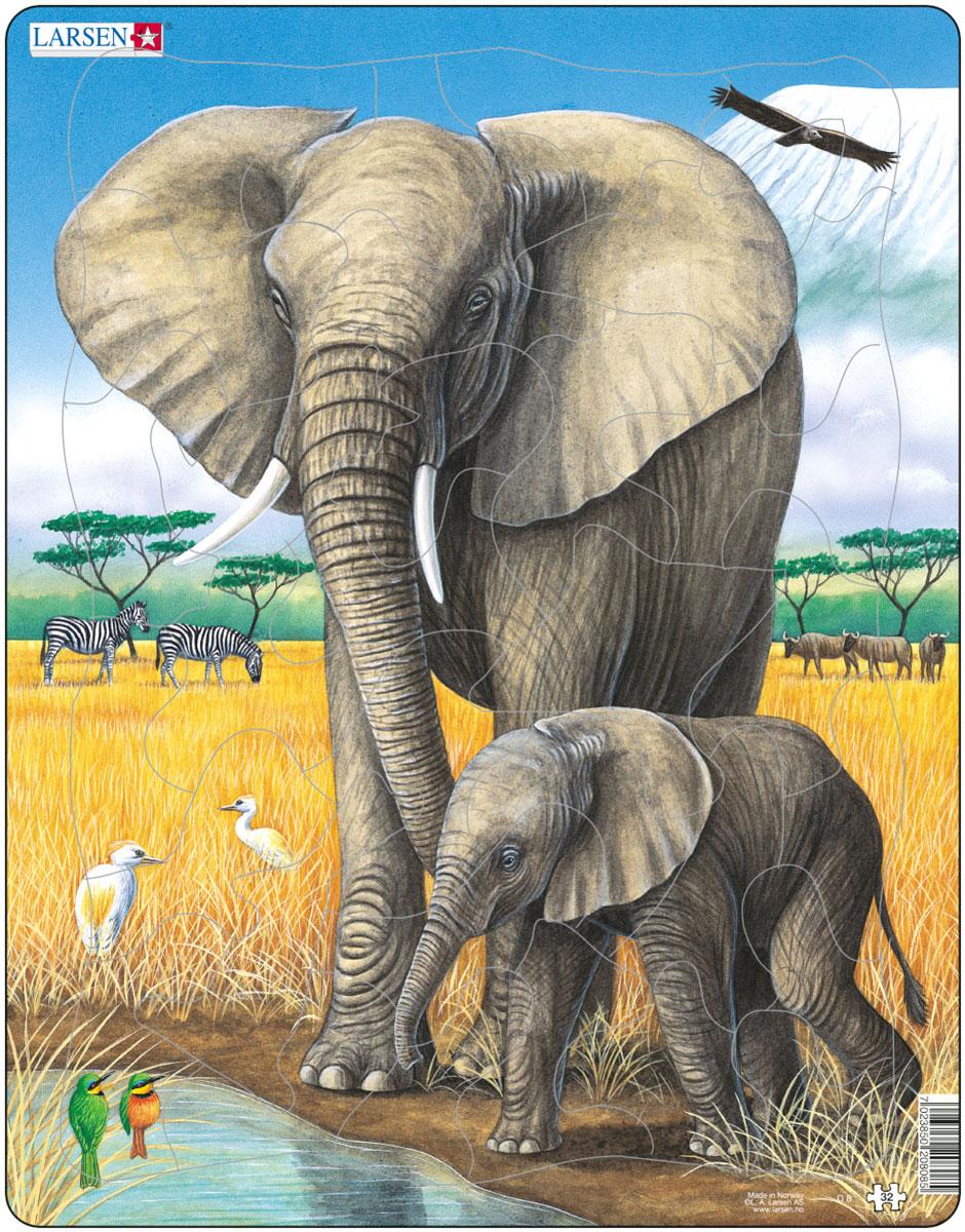 Larsen Пазл СлоныD8Пазлы Ларсен направлены, прежде всего, на обучение. Пазл Larsen Слоны знакомит детей с миром природы. На картинке изображен слон со слоненком на фоне природы саванны. Выполненные из высококачественного трехслойного картона, пазлы не деформируются и легко берутся в руки. Все пазлы снабжены специальной подложкой, благодаря чему их удобно собирать. Размер готового пазла: 36,5 см х 28,5 см.