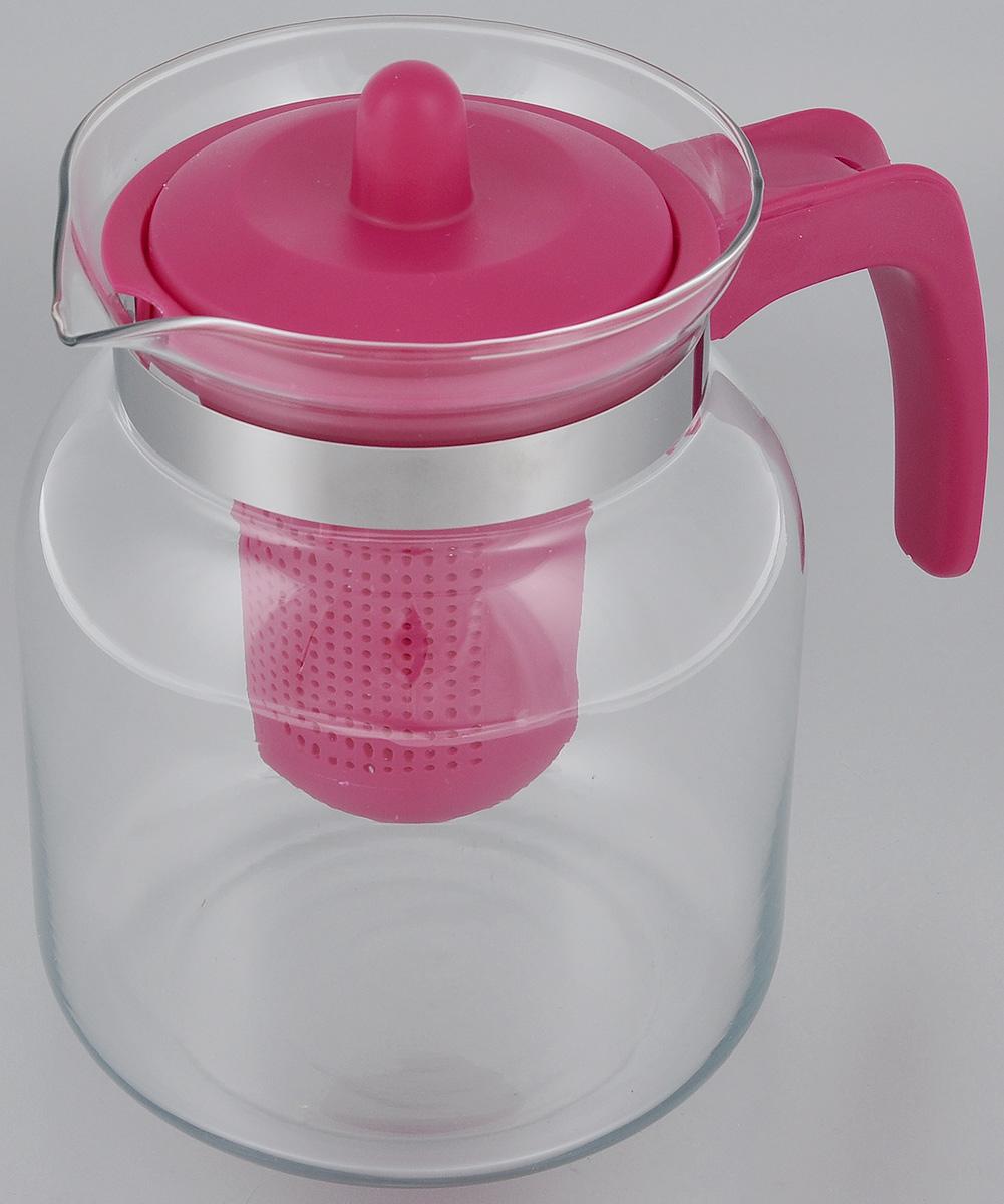 Чайник-кувшин Menu Чабрец, с фильтром, цвет: прозрачный, малиновый, 1450 млCHZ-14_малиновыйЧайник-кувшин Menu Чабрец изготовлен из прочного стекла, которое выдерживает температуру до 100 °C. Он прекрасно подойдет для заваривания чая и травяных настоев. Классический стиль и оптимальный объем делают чайник удобным и оригинальным аксессуаром, который прекрасно подойдет для ежедневного использования. Ручка изделия выполнена из пищевого пластика, она не нагревается и обеспечивает безопасность использования. Благодаря съемному ситечку и оптимальной форме колбы, чайник- кувшин Menu Чабрец идеально подходит для использования его в качестве кувшина для воды и прохладительных напитков. Не рекомендуется использовать в посудомоечной машине. Диаметр чайника (по верхнему краю): 10,3 см. Общий диаметр чайника: 11 см. Высота чайника (без учета ручки и крышки): 15,6 см. Высота чайника (с учетом ручки и крышки): 17 см. Высота фильтра: 8,5 см.