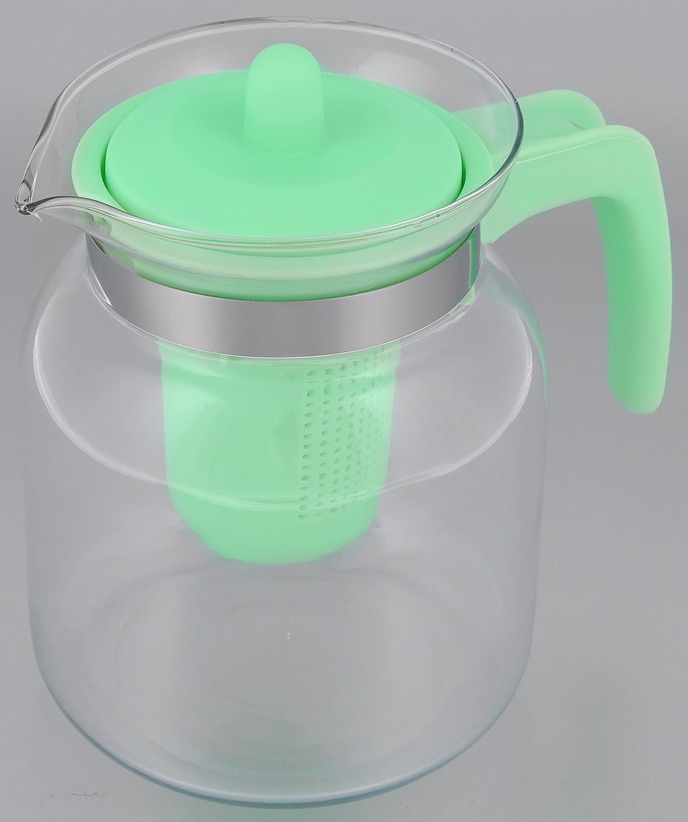 Чайник-кувшин Menu Чабрец, с фильтром, цвет: прозрачный, зеленый, 1450 млCHZ-14_зелЧайник-кувшин Menu Чабрец изготовлен из прочного стекла, которое выдерживает температуру до 100 °C. Он прекрасно подойдет для заваривания чая и травяных настоев. Классический стиль и оптимальный объем делают чайник удобным и оригинальным аксессуаром, который прекрасно подойдет для ежедневного использования. Ручка изделия выполнена из пищевого пластика, она не нагревается и обеспечивает безопасность использования. Благодаря съемному ситечку и оптимальной форме колбы, чайник- кувшин Menu Чабрец идеально подходит для использования его в качестве кувшина для воды и прохладительных напитков. Диаметр чайника по верхнему краю: 10,3 см. Общий диаметр чайника: 11 см. Высота чайника (без учета ручки и крышки): 15,6 см. Высота чайника (с учетом ручки и крышки): 17 см.