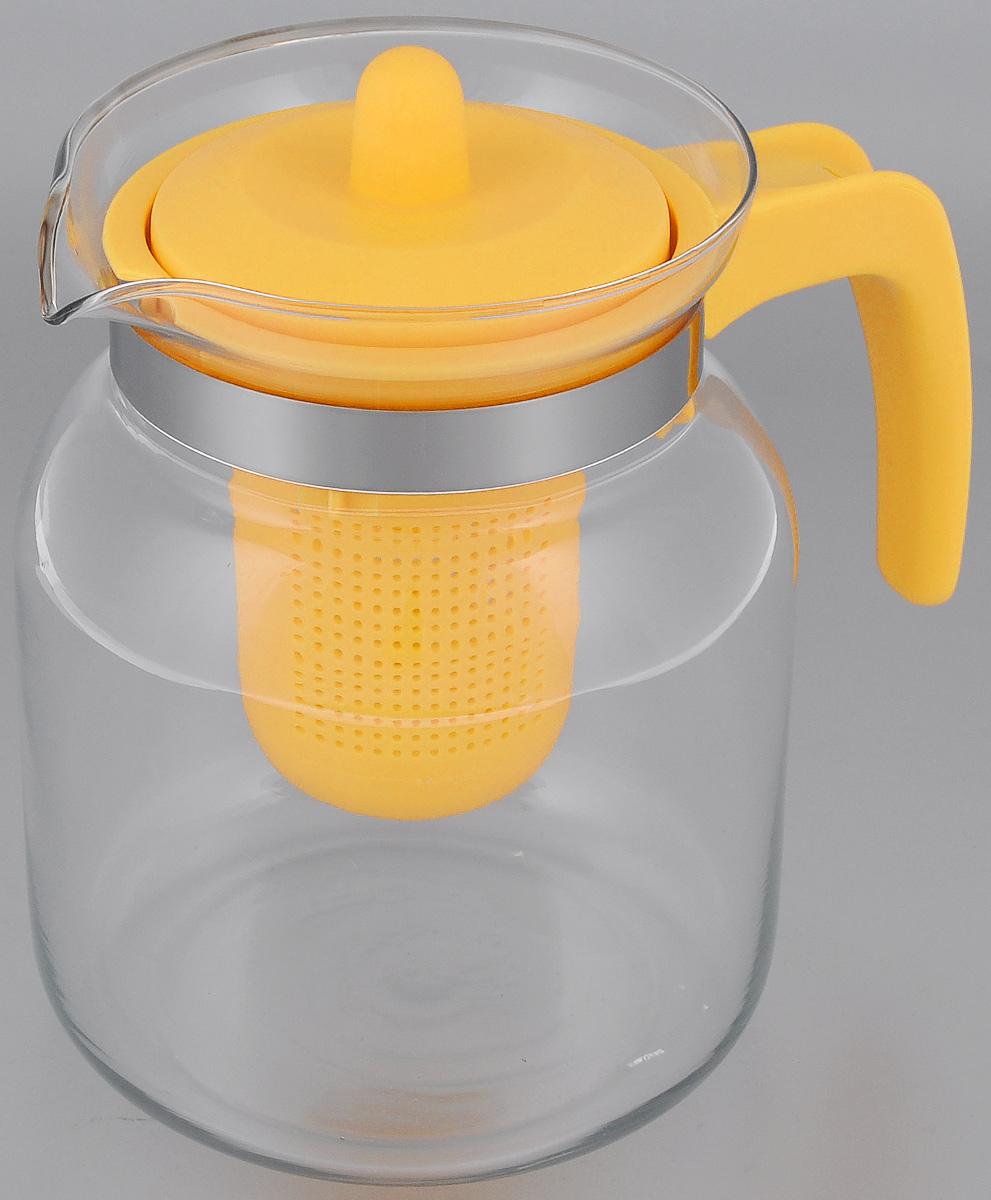 Чайник-кувшин Menu Чабрец, с фильтром, цвет: прозрачный, желтый, 1,45 лCHZ-14_желтЧайник-кувшин Menu Чабрец изготовлен из прочного стекла, которое выдерживает температуру до 100 °C. Он прекрасно подойдет для заваривания чая и травяных настоев. Классический стиль и оптимальный объем делают чайник удобным и оригинальным аксессуаром, который прекрасно подойдет для ежедневного использования. Ручка изделия выполнена из пищевого пластика, она не нагревается и обеспечивает безопасность использования. Благодаря съемному ситечку и оптимальной форме колбы, чайник- кувшин Menu Чабрец идеально подходит для использования его в качестве кувшина для воды и прохладительных напитков. Диаметр чайника по верхнему краю: 10,3 см. Общий диаметр чайника: 11 см. Высота чайника (без учета ручки и крышки): 15,6 см. Высота чайника (с учетом ручки и крышки): 17 см.