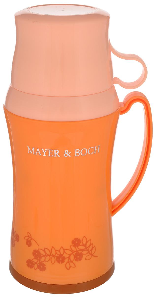 Термос Mayer & Boch, с двумя чашками, цвет: оранжевый, белый, 600 мл22599Термос Mayer & Boch со стеклянной колбой в пластиковом корпусе является одним из востребованных в России. Его температурная характеристика ни в чем не уступает термосам со стальными колбами, но благодаря свойствам стекла этот термос может быть использован для заваривания напитков с устойчивыми ароматами. В комплекте с термосом - две чашки разных размеров. Завинчивающаяся герметичная крышка предохранит от проливаний. Температура напитков сохраняется до 24 часов. Этот термос станет не только надежным другом в походе, но и отличным украшением вашей кухни. Общий размер термоса: 13,5 см х 10,5 см х 25,2 см. Размер большой чашки (без учета ручки): 9 см х 9 см х 6,5 см. Размер маленькой чашки: 8,5 см х 8,5 см х 5 см.