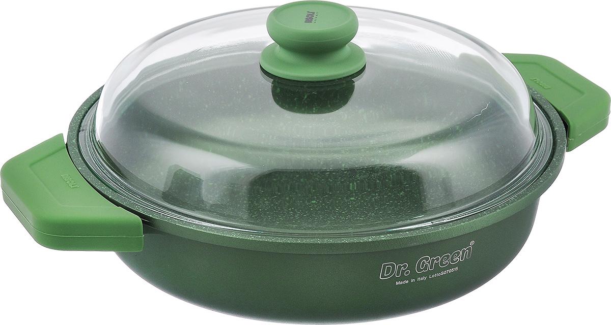 Сковорода Risoli Dr. Green с крышкой, с антипригарным покрытием. Диаметр 28 см. 00099DR/28GS00099DR/28GSСковорода Risoli Dr. Green изготовлена из литого алюминия с антипригарным гранитным покрытием. Предназначено для приготовления здоровой и диетической пищи без добавления масла. Покрытие обладает повышенной износостойкостью, идеально подходит для интенсивного ежедневного использования, особенно хороша для тушения. Изделие оснащено удобной бакелитовой ручкой с покрытием Soft- touch и крышкой из жаропрочного стекла. Подходит для газовых и электрических плит. Не подходит для индукционных плит. Диаметр (по верхнему краю): 28 см. Высота стенки: 8 см. Толщина стенки: 7 мм. Толщина дна: 7 мм. Ширина (с учетом ручек): 38 см.