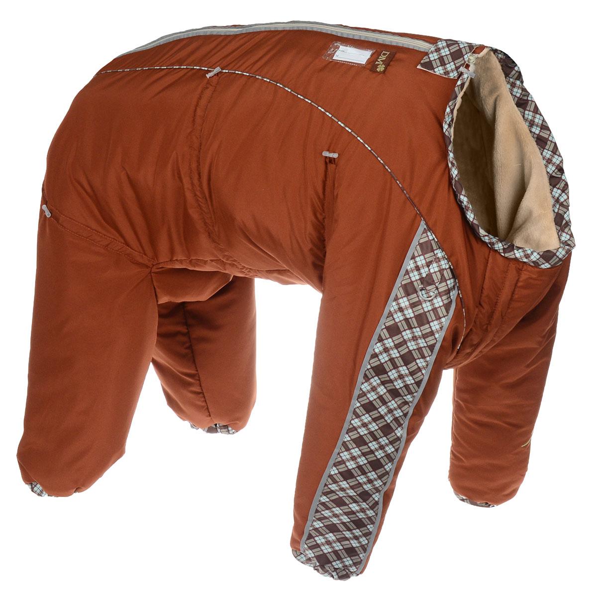 Комбинезон для собак Dogmoda Doggs, зимний, для девочки, цвет: светло-коричневый, оранжевый. Размер XXXLDM-140557Комбинезон для собак Dogmoda Doggs отлично подойдет для прогулок в зимнее время года. Комбинезон изготовлен из полиэстера, защищающего от ветра и снега, с утеплителем из синтепона, который сохранит тепло даже в сильные морозы, а на подкладке используется искусственный мех, который обеспечивает отличный воздухообмен. Комбинезон застегивается на молнию и липучку, благодаря чему его легко надевать и снимать. Молния снабжена светоотражающими элементами. Низ рукавов и брючин оснащен внутренними резинками, которые мягко обхватывают лапки, не позволяя просачиваться холодному воздуху. На вороте, пояснице и лапках комбинезон затягивается на шнурок-кулиску с затяжкой. Модель снабжена непромокаемым карманом для размещения записки с информацией о вашем питомце, на случай если он потеряется. Благодаря такому комбинезону простуда не грозит вашему питомцу и он не даст любимцу продрогнуть на прогулке.