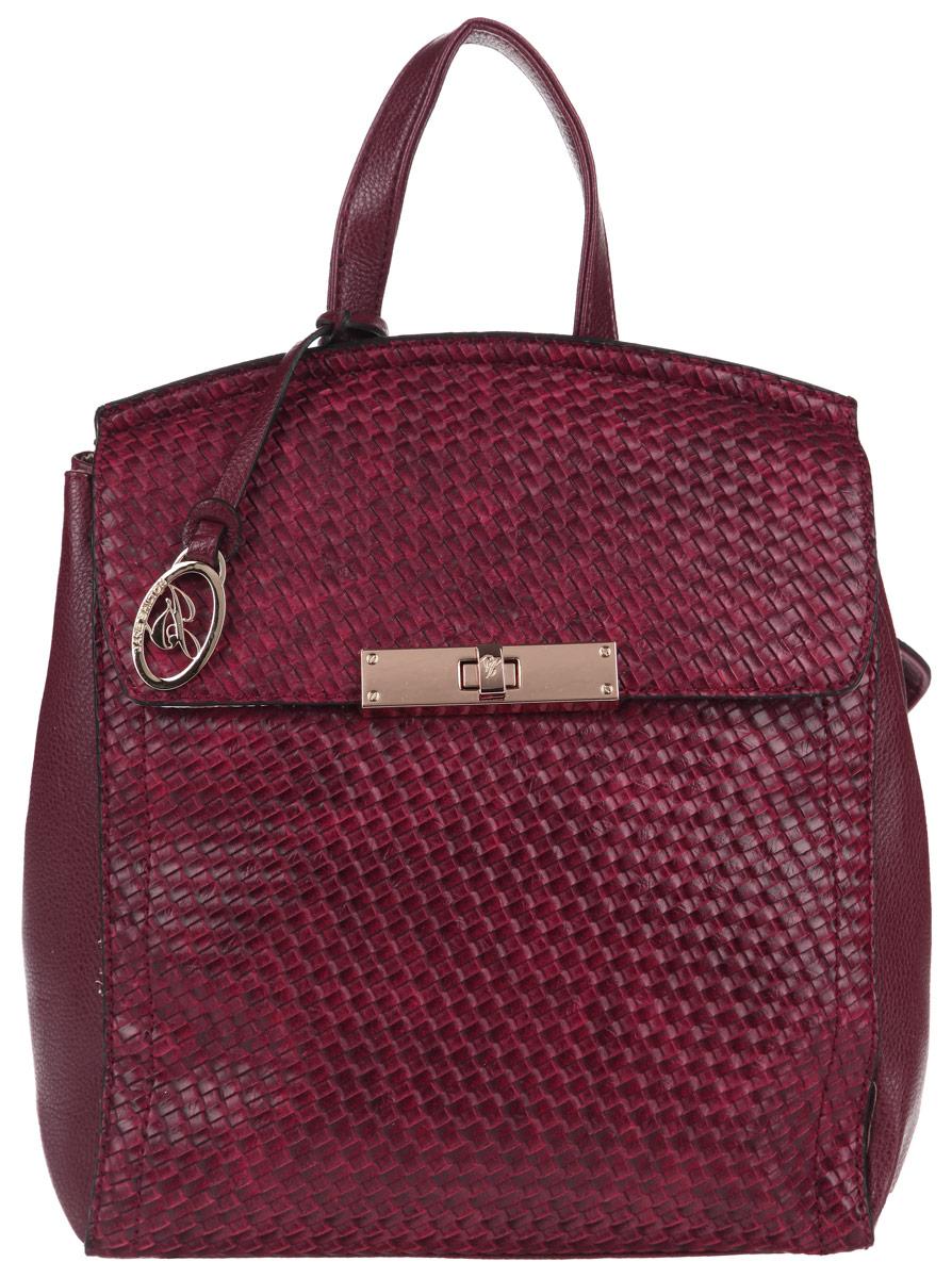 Рюкзак женский Jane Shilton, цвет: красный. 19121912redСтильный рюкзак Jane Shilton выполнен из искусственной кожи с декоративным тиснением под плетение, оформлен металлической фурнитурой и подвеской с символикой бренда. Изделие содержит одно отделение, которое закрывается клапаном на замок-вертушку. Внутри рюкзака расположены: врезной карман на застежке-молнии, карман-средник на молнии и накладной карман для телефона. Снаружи, на задней стороне рюкзака, расположен врезной карман на молнии. На лицевой стороне изделия, под клапаном, расположен накладной карман. Рюкзак оснащен двумя практичными лямками и петлей для подвешивания, которые позволят носить изделие, как в руках, так и на плече. Оригинальный аксессуар позволит вам завершить образ и быть неотразимой.