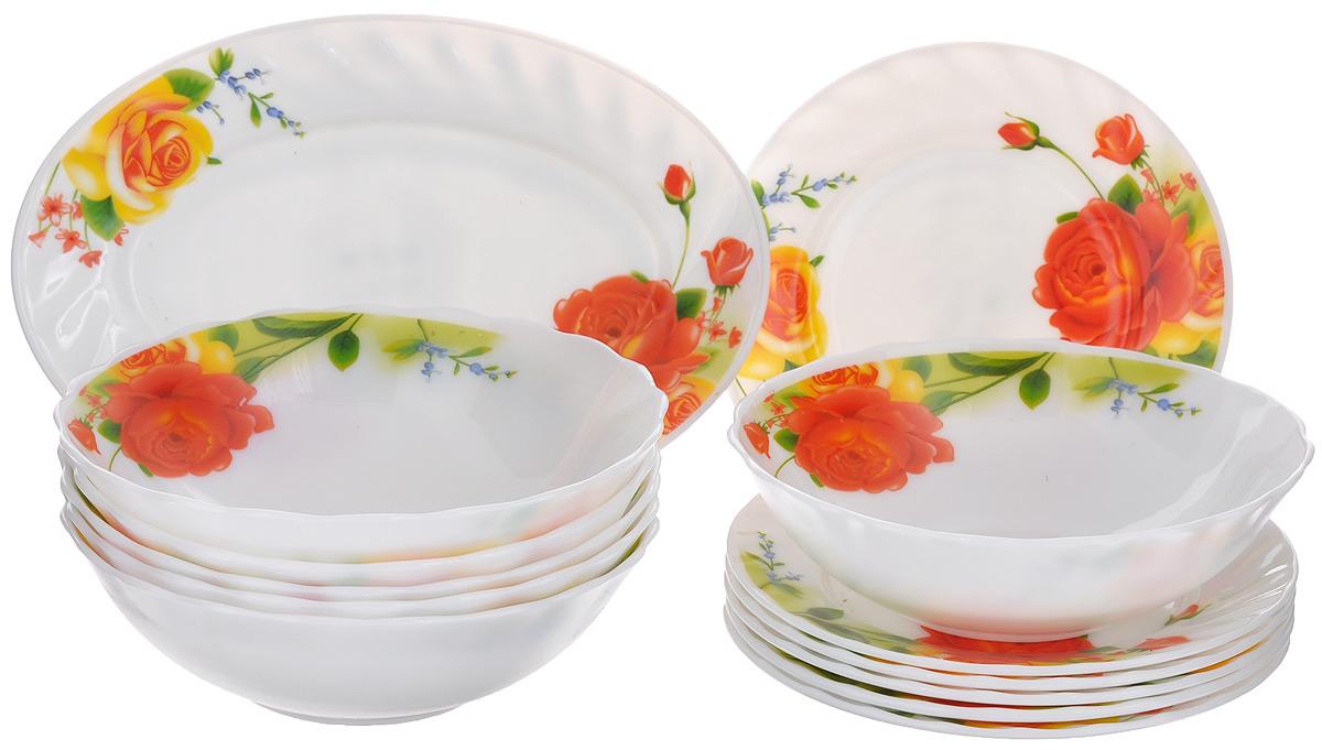 Набор столовой посуды Miolla Чайные розы, 13 предметовW-13B /6665Набор Miolla Чайные розы состоит из 6 глубоких тарелок, 6 десертных тарелок и овального блюда. Изделия выполнены из высококачественной стеклокерамики и имеют яркий дизайн с изящным цветочным рисунком. Посуда отличается прочностью, гигиеничностью и долгим сроком службы, она устойчива к появлению царапин и резким перепадам температур. Такой набор прекрасно подойдет как для повседневного использования, так и для праздников. Набор столовой посуды Miolla Чайные розы - это не только яркий и полезный подарок для родных и близких, а также великолепное дизайнерское решение для вашей кухни или столовой. Можно мыть в посудомоечной машине и использовать в микроволновой печи. Диаметр глубокой тарелки (по верхнему краю): 18 см. Высота глубокой тарелки: 5,5 см. Диаметр десертной тарелки (по верхнему краю): 17,5 см. Высота десертной тарелки: 2 см. Размер блюда (по верхнему краю): 25 см х 17 см. Высота блюда: 2 см.