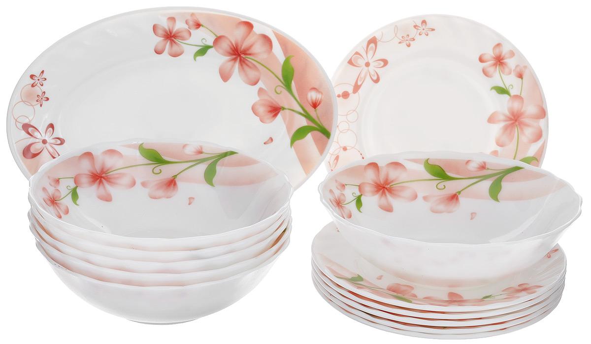 Набор столовой посуды Miolla Нежность, 13 предметовW-13B /6636Набор Miolla Нежность состоит из 6 глубоких тарелок, 6 десертных тарелок и овального блюда. Изделия выполнены из высококачественной стеклокерамики и имеют яркий дизайн с изящным цветочным рисунком. Посуда отличается прочностью, гигиеничностью и долгим сроком службы, она устойчива к появлению царапин и резким перепадам температур. Такой набор прекрасно подойдет как для повседневного использования, так и для праздников. Набор столовой посуды Miolla Нежность - это не только яркий и полезный подарок для родных и близких, а также великолепное дизайнерское решение для вашей кухни или столовой. Можно мыть в посудомоечной машине и использовать в микроволновой печи. Диаметр глубокой тарелки (по верхнему краю): 18 см. Высота глубокой тарелки: 5,5 см. Диаметр десертной тарелки (по верхнему краю): 17,5 см. Высота десертной тарелки: 1,8 см. Размер блюда (по верхнему краю): 25 см х 17 см. Высота блюда: 2 см.