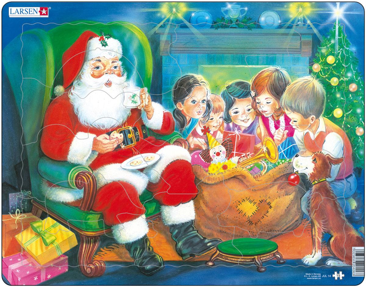 Larsen Пазл Санта с детьмиJUL14Пазл Larsen Санта с детьми изображает веселого Санта Клауса с огромным мешком подарков. Добрый Санта принес много подарков детям! Выполненные из высококачественного трехслойного картона, пазлы не деформируются и легко берутся в руки. Все пазлы снабжены специальной подложкой, благодаря чему их удобно собирать. Размер готового пазла: 36,5 см х 28,5 см.