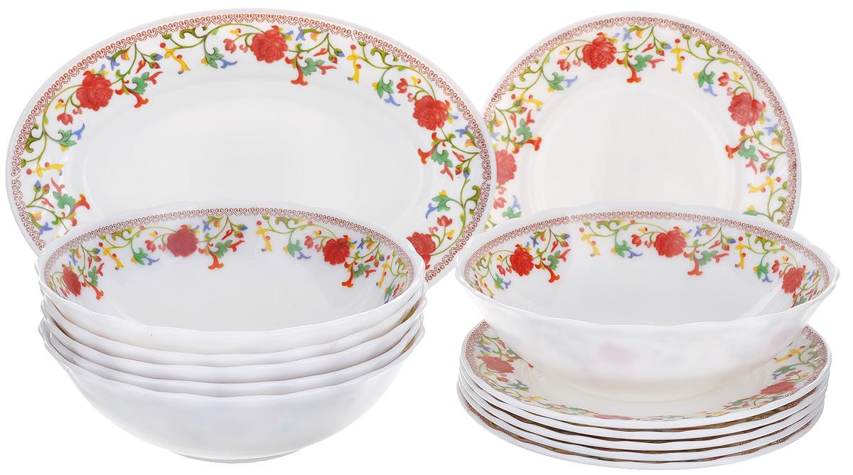 Набор столовой посуды Miolla Полянка, 13 предметовW-13B /6681Набор Miolla Полянка состоит из 6 глубоких тарелок, 6 десертных тарелок и овального блюда. Изделия выполнены из высококачественной стеклокерамики и имеют яркий дизайн с изящным цветочным рисунком. Посуда отличается прочностью, гигиеничностью и долгим сроком службы, она устойчива к появлению царапин и резким перепадам температур. Такой набор прекрасно подойдет как для повседневного использования, так и для праздников. Набор столовой посуды Miolla Полянка - это не только яркий и полезный подарок для родных и близких, а также великолепное дизайнерское решение для вашей кухни или столовой. Можно мыть в посудомоечной машине и использовать в микроволновой печи. Диаметр глубокой тарелки (по верхнему краю): 18 см. Высота глубокой тарелки: 5,5 см. Диаметр десертной тарелки (по верхнему краю): 17,5 см. Высота десертной тарелки: 1,8 см. Размер блюда (по верхнему краю): 25 см х 17 см. Высота блюда: 2 см.