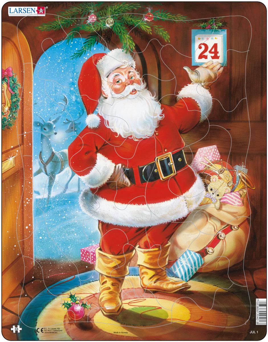 Larsen Пазл Санта Клаус JUL1JUL1Пазл Larsen Санта Клаус JUL1 изображает Санта Клауса с мешком подарков и оленьей упряжкой за спиной. Санта готов развозить подарки детям! Выполненные из высококачественного трехслойного картона, пазлы не деформируются и легко берутся в руки. Все пазлы снабжены специальной подложкой, благодаря чему их удобно собирать. Размер готового пазла: 36,5 см х 28,5 см.