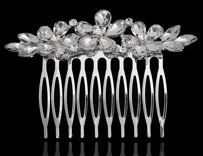 Гребень для волос 'Луиза'. Прозрачные кристаллы и стразы, бижутерный сплав серебряного тона. Villa di Mario, Италия