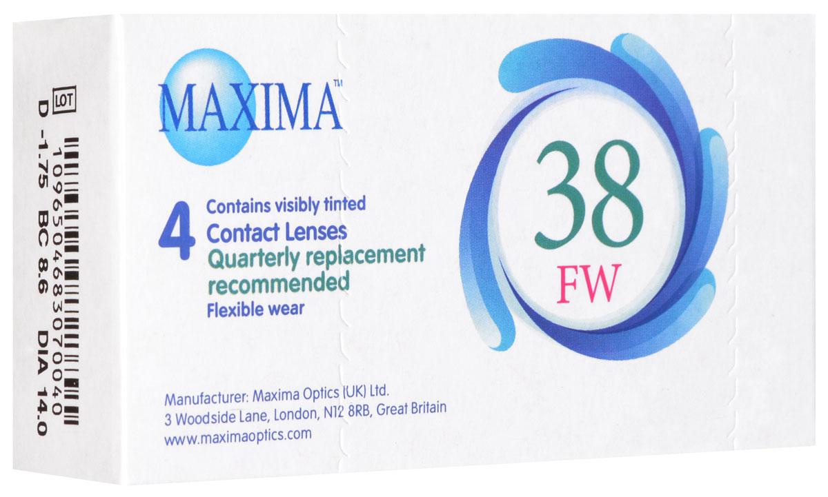 Maxima контактные линзы 38 FW (4 шт / 8.6 / -1.75)1013Линзы квартальной замены Maxima 38 FW обладают отличными клиническими характеристиками в сочетании с доступной ценой. Идеальны для перехода пациентов с традиционных линз к плановой замене. Ровный тонкий профиль края линзы Maxima 38 FW, незначительная толщина в центре обеспечивают комфорт ношения и улучшают кислородную проницаемость к роговице. Замена через 3 месяца.