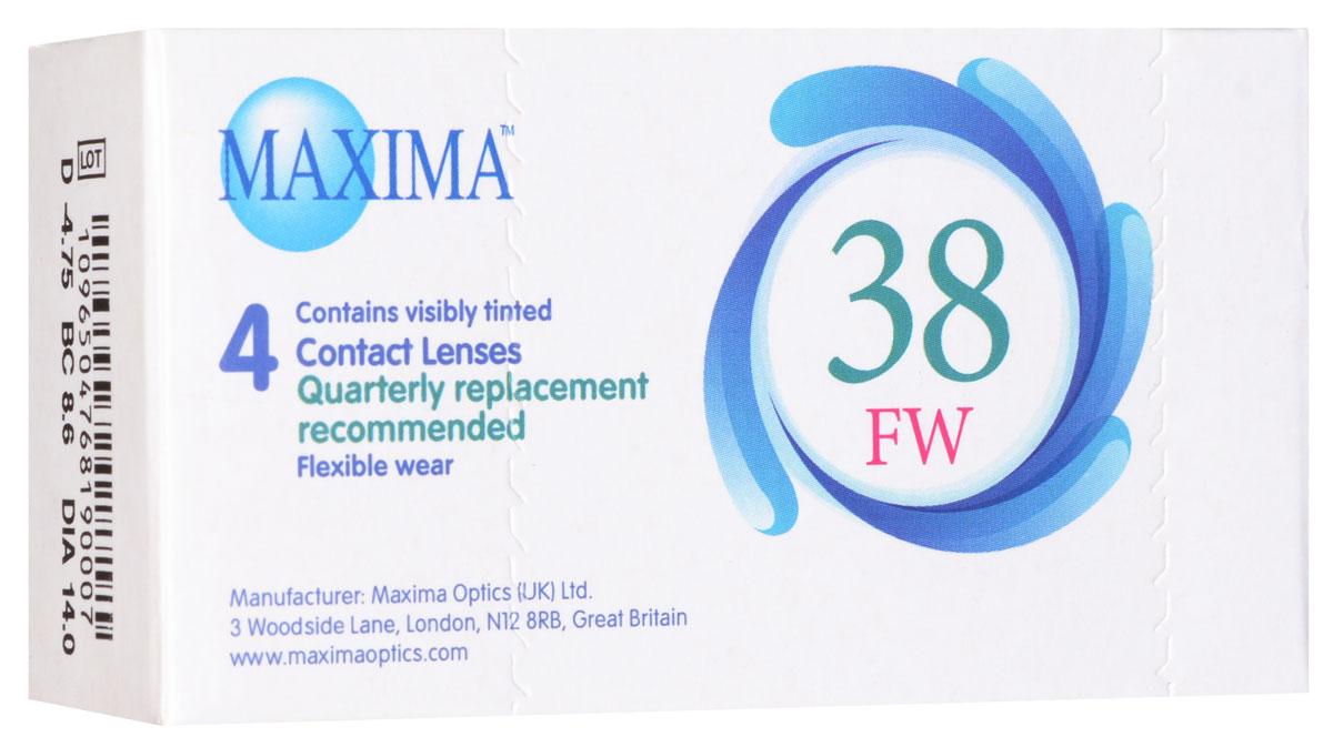 Maxima контактные линзы 38 FW (4 шт / 8.6 / -4.75)1001Линзы квартальной замены Maxima 38 FW обладают отличными клиническими характеристиками в сочетании с доступной ценой. Идеальны для перехода пациентов с традиционных линз к плановой замене. Ровный тонкий профиль края линзы Maxima 38 FW, незначительная толщина в центре обеспечивают комфорт ношения и улучшают кислородную проницаемость к роговице. Замена через 3 месяца.