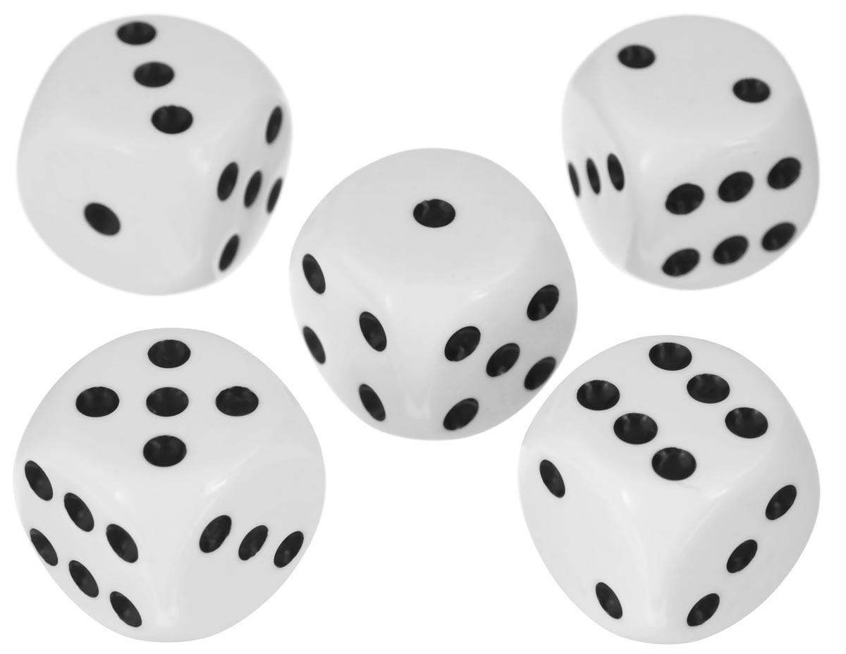 Набор игральных костей Компания Игра, 20 мм, цвет: белый, 5 шт90Набор игральных костей состоит из 5 шестигранных пластиковых кубиков белого цвета с черными точками. Кости подходят для любых настольных игр на шестигранных кубиках, в том числе и нард.