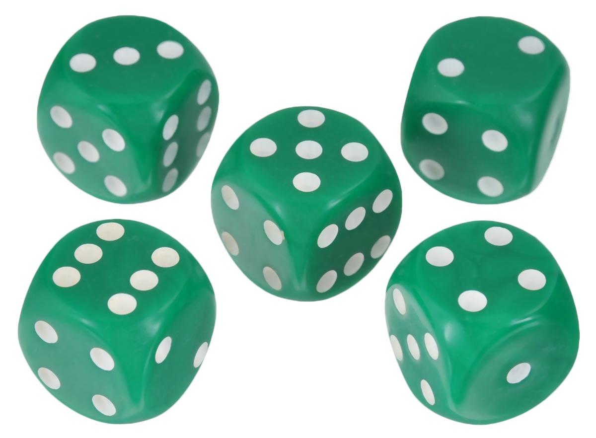 Набор игральных костей Компания Игра, 16 мм, цвет: зеленый, 5 шт83Набор игральных костей состоит из 5 шестигранных пластиковых кубиков зеленого цвета с белыми точками. Кости подходят для любых настольных игр на шестигранных кубиках, в том числе и нард.
