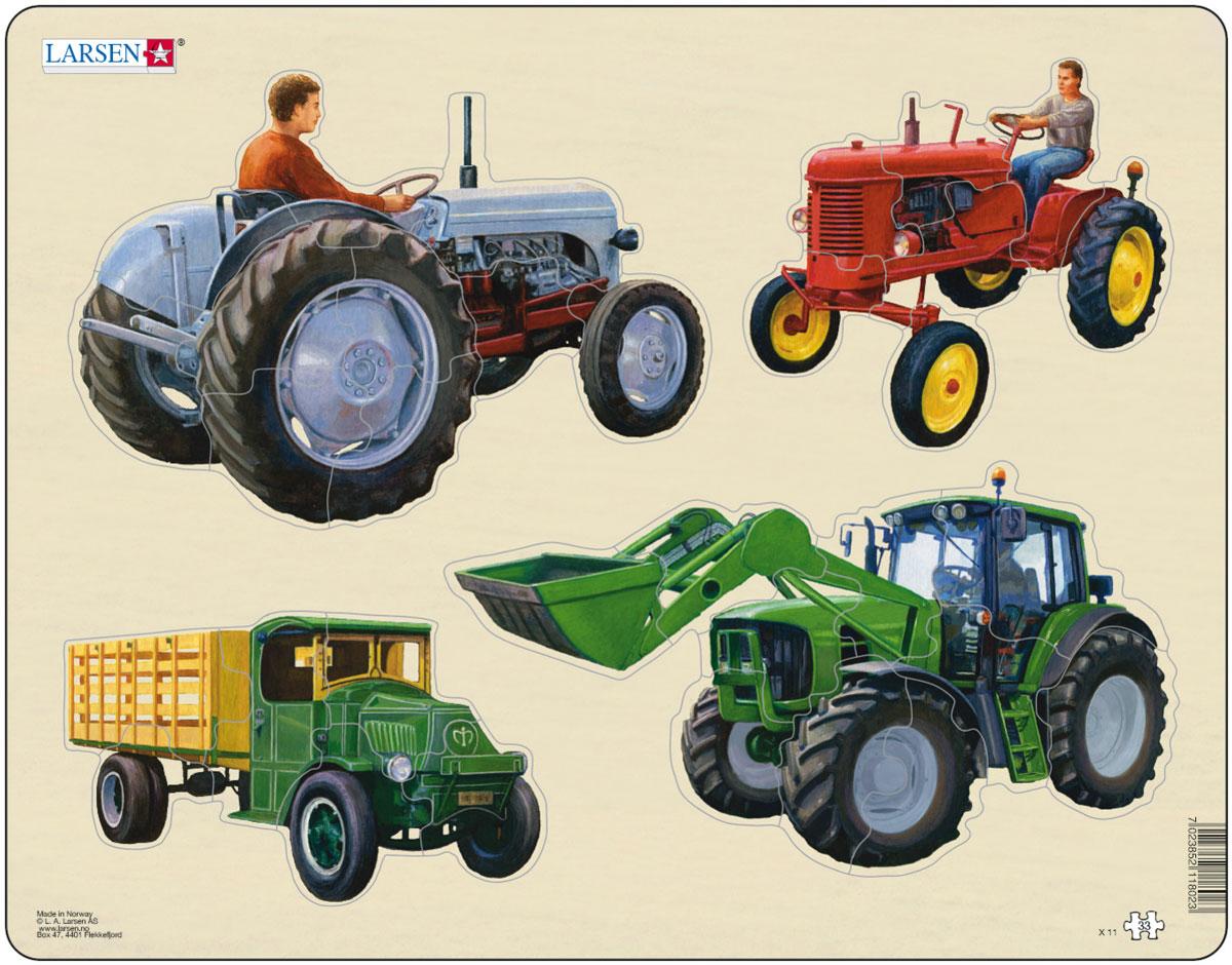 Larsen Пазл Трактор X11X11Пазлы Ларсен направлены, прежде всего, на обучение. Пазл Larsen Трактор X11 расскажет детям о том, какие бывают виды сельскохозяйственной техники. Выполненные из высококачественного трехслойного картона, пазлы не деформируются и легко берутся в руки. Все пазлы снабжены специальной подложкой, благодаря чему их удобно собирать. Размер готового пазла: 36,5 см х 28,5 см.
