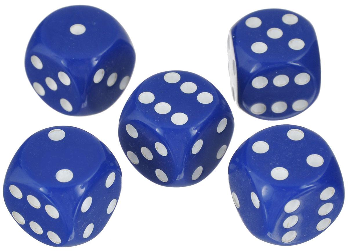 Набор игральных костей Компания Игра, 16 мм, цвет: синий, 5 шт82Набор игральных костей состоит из 5 шестигранных пластиковых кубиков синего цвета с белыми точками. Кости подходят для любых настольных игр на шестигранных кубиках, в том числе и нард.