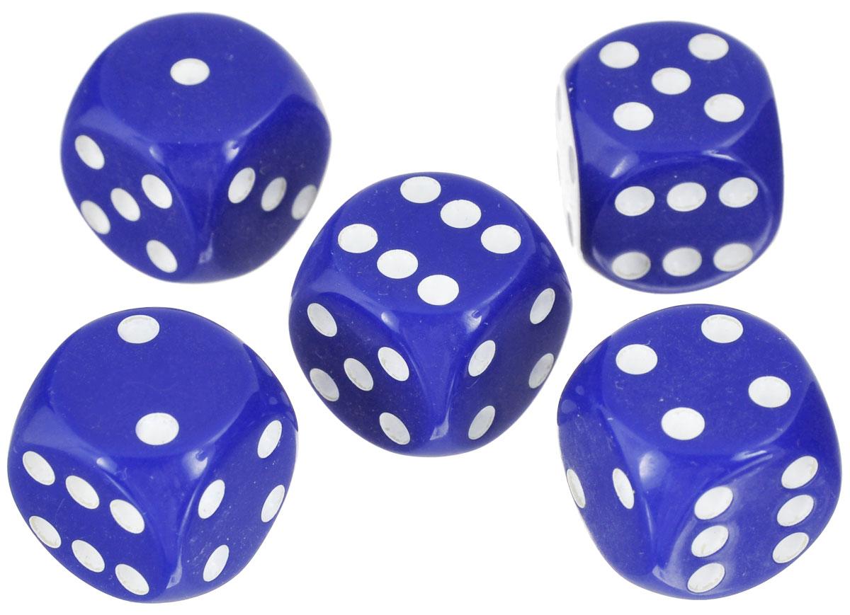 Набор игральных костей Компания Игра, 10 мм, цвет: синий, 5 шт72Набор игральных костей состоит из 5 шестигранных пластиковых кубиков синего цвета с белыми точками. Кости подходят для любых настольных игр на шестигранных кубиках, в том числе и нард.