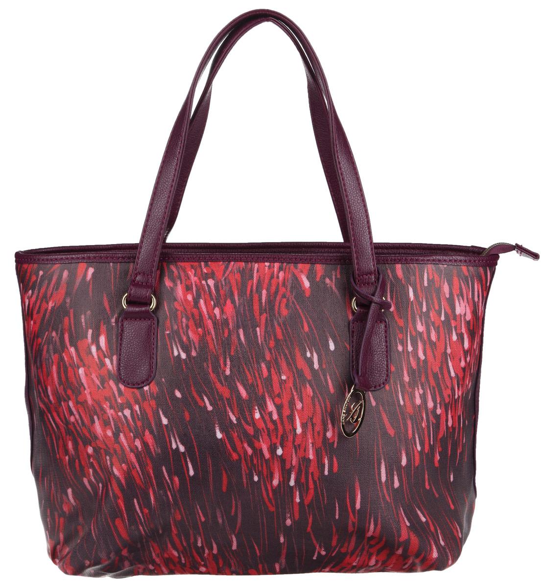 Сумка женская Jane Shilton, цвет: розовый, фиолетовый. 19141914pinkСтильная сумка Jane Shilton выполнена из искусственной кожи с мелкозернистой фактурой, оформлена оригинальным принтом, подвеской и металлической фурнитурой с символикой бренда. Сумка содержит одно отделение, которое закрывается на застежку-молнию. Внутри изделия расположены: врезной карман на застежке-молнии, накладной карман для телефона и карман-средник на молнии. Снаружи, в тыльной стенке сумки, размещен врезной карман на молнии. Изделие оснащено двумя практичными ручками, которые позволят носить сумку, как в руках, так и на плече. Оригинальный аксессуар позволит вам завершить образ и быть неотразимой.