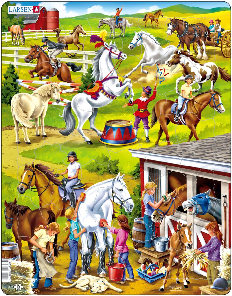 Larsen Пазл ЛошадиUS26Пазлы Ларсен направлены, прежде всего, на обучение. Пазл Larsen Лошади это лучший подарок для истинных любителей лошадей. На яркой картинке пазла ребенок увидит лошадей, которые скачут через препятствия, бегают в загоне, тренируют цирковые номера, отдыхают в конюшне. Выполненные из высококачественного трехслойного картона, пазлы не деформируются и легко берутся в руки. Все пазлы снабжены специальной подложкой, благодаря чему их удобно собирать. Размер готового пазла: 36,5 см х 28,5 см.