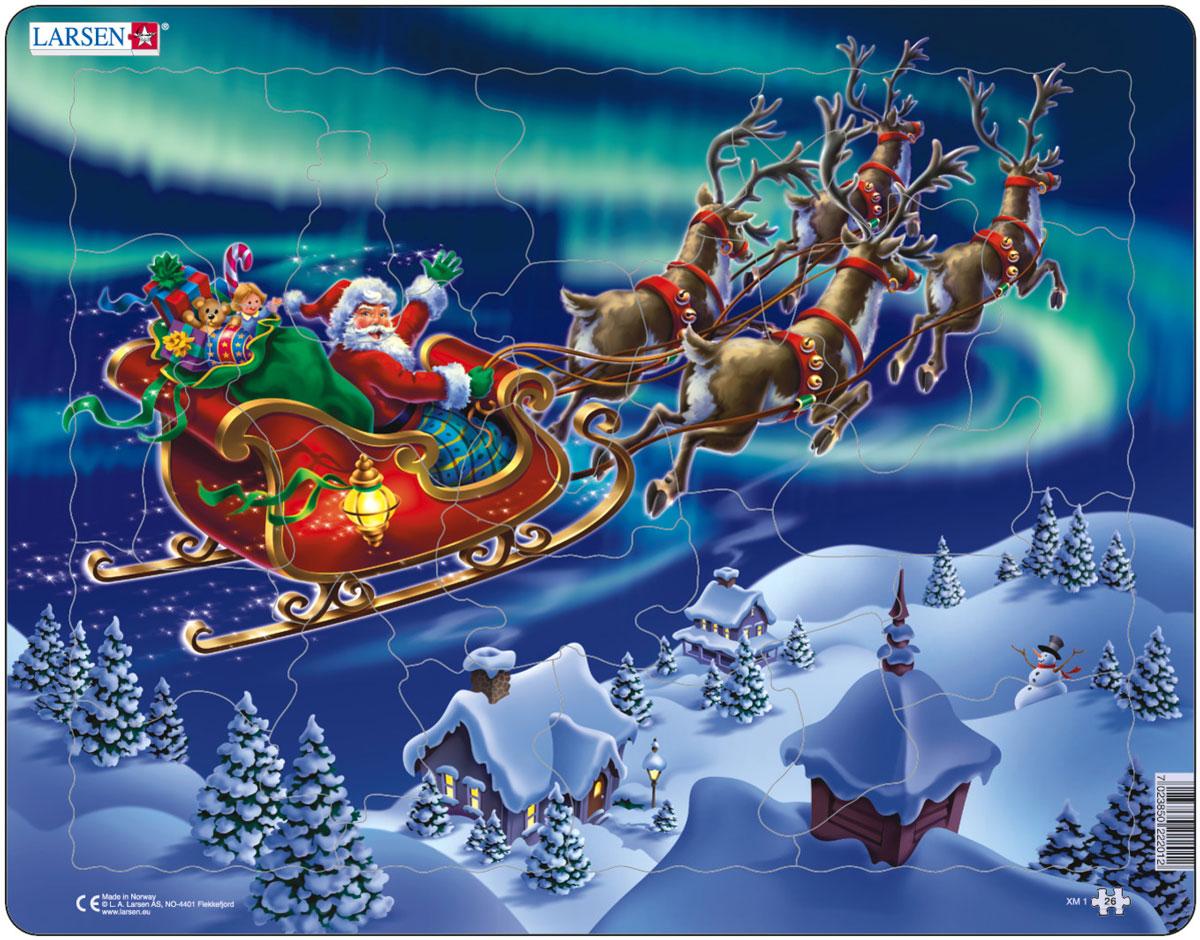 Larsen Пазл Санта Клаус XM1XM1Пазлы Ларсен направлены, прежде всего, на обучение. Пазл Larsen Санта Клаус XM1 изображает Санта Клауса с мешком подарков, летящего в волшебных санях, запряженных в четверку летающих оленей. Выполненные из высококачественного трехслойного картона, пазлы не деформируются и легко берутся в руки. Все пазлы снабжены специальной подложкой, благодаря чему их удобно собирать. Размер готового пазла: 36,5 см х 28,5 см.