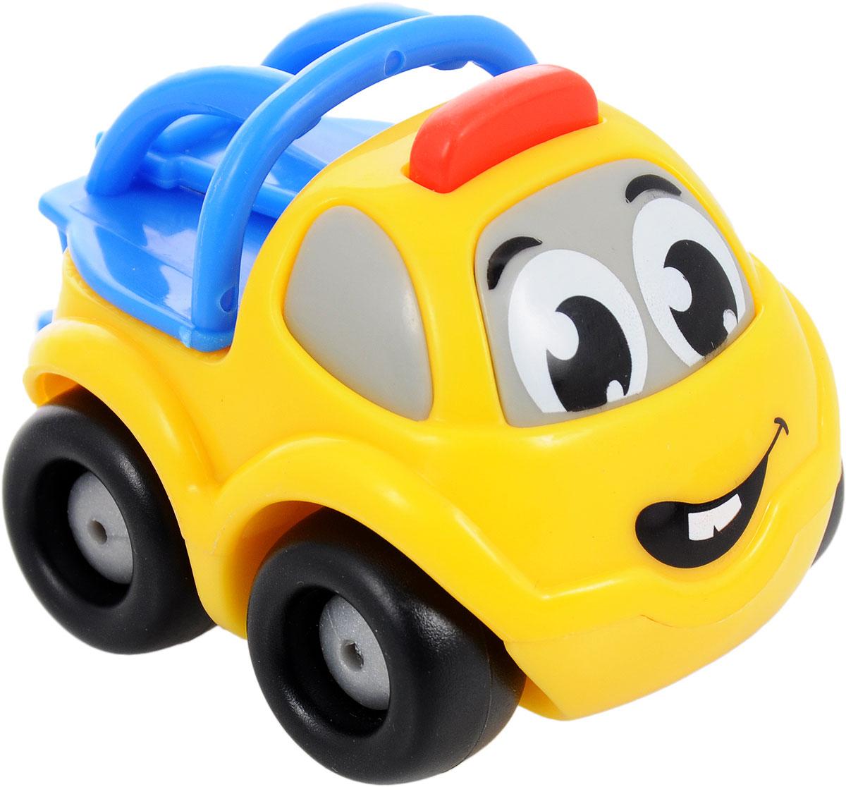 Smoby Машинка Vroom Planet цвет желтый синий211257_желтый/синийМини-машинка Smoby Vroom Planet привлечет внимание вашего ребенка и надолго останется его любимой игрушкой. Плавные формы без острых углов, яркие цвета - все это выгодно выделяет эту игрушку из ряда подобных. Игрушка в виде машинки-эвакуатора, у которой сзади имеется крюк. Кабина машинки оформлена в виде лица - на лобовом стекле видны глазки, а на капоте - задорная улыбка. Машинка развивает концентрацию внимания, координацию движений, мелкую моторику рук, цветовое восприятие и воображение. Малыш будет часами играть с этой машинкой, придумывая разные истории.