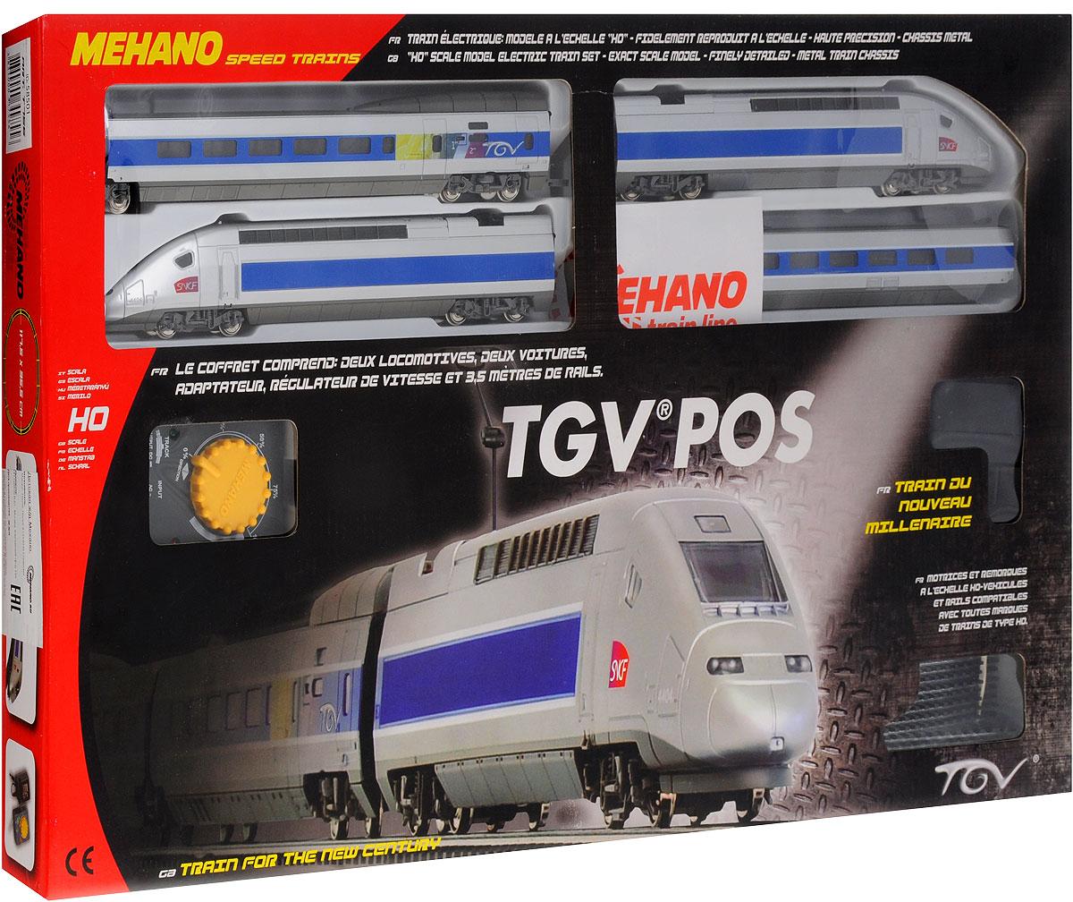 Mehano Железная дорога TGV POST756/58501Железная дорога Mehano TGV POS - миниатюрная копия знаменитого французского высокоскоростного электропоезда 4-го поколения, принадлежащего Национальной компании французских железных дорог. Такая железная дорогая понравится не только детям, но взрослым коллекционерам. В комплект входит все необходимое для создания собственного железнодорожного трека: ведущий локомотив TGV, ведомый локомотив TGV, вагон первого класса, вагон второго класса, а также железнодорожное полотно, включающее в себя 12 радиальных рельс, 2 прямые рельсы, 14 соединительных элементов системы Quick Click, сетевой адаптер, пульт-контроллер, подробную иллюстрированную инструкцию по сборке и управлению железной дорогой. Обтекаемые линии, белоснежный цвет в сочетании с синей полосой, быстрое движение поезда делают его похожим на механическую птицу, которая летит по рельсам, будто не касаясь их. Корпусы поезда и вагонов выполнены из пластика, колеса, а также рельсы выполнены из металла. Благодаря...