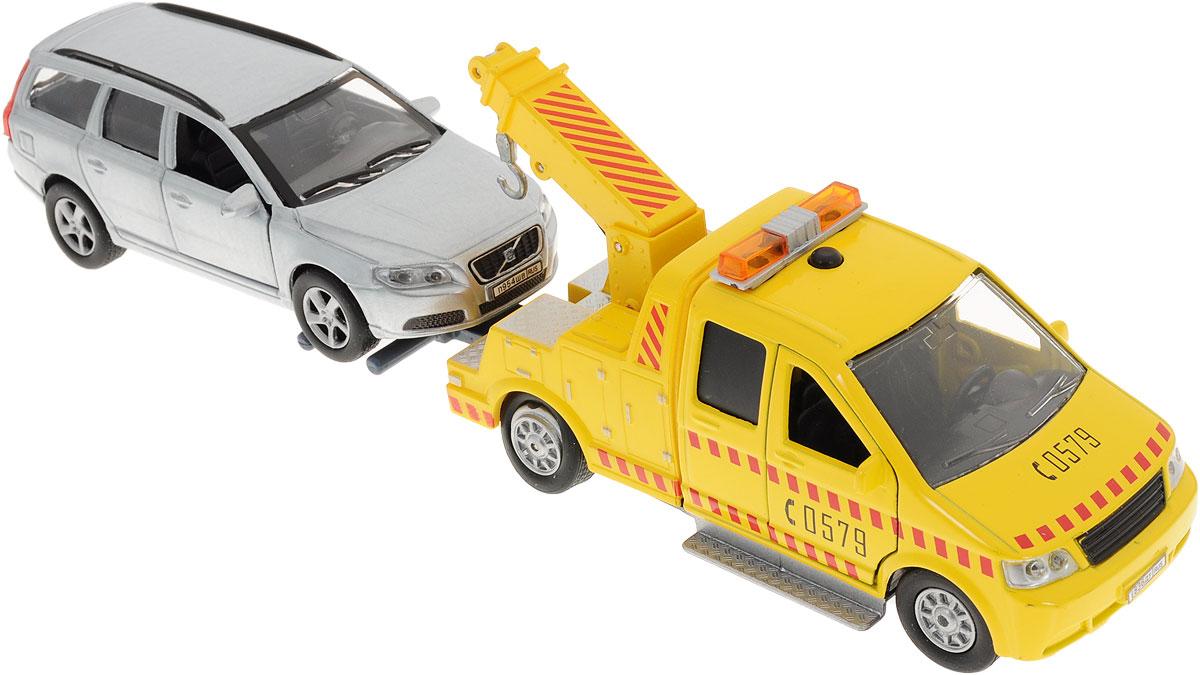 Пламенный мотор Эвакуатор инерционный с автомобилем Volvo87432_желтый, серыйИнерционная машина Пламенный мотор Эвакуатор с автомобилем Volvo выполненная из безопасных полимерных материалов и резины, станет любимой игрушкой вашего ребенка! Игрушка включает в себя желтый эвакуатор и автомобиль Volvo серебристого цвета, представляющий собой точную копию реальной модели. Передние дверцы машинок открываются, при нажатии на кнопку на крыше эвакуатора начинает мигать его проблесковый маячок и слышится звук работающего мотора. Машинки оснащены инерционным механизмом. Ваш ребенок часами будет играть с такой игрушкой, придумывая различные истории. Для работы игрушки необходимы 2 батарейки типа LR41 (товар комплектуется демонстрационными).