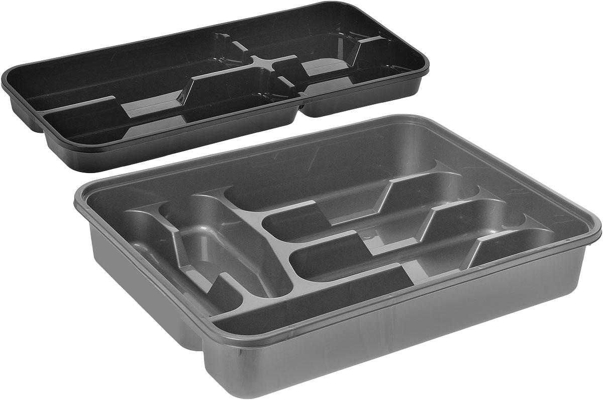 Лоток для столовых приборов Dunya Plastik, двойной, цвет: серый, черный, 39 х 31 см14004_серый, черныйЛоток для столовых приборов Dunya Plastik изготовлен из пластика. Изделие имеет 3 одинаковых секции для столовых ложек, вилок и ножей, 2 секции для чайных ложек и других мелких столовых приборов и длинную секцию для различных кухонных принадлежностей. Съемное отделение дополнено 4 секциями. Отверстия между секциями позволяют разместить ножи. Помещается в любой кухонный ящик.