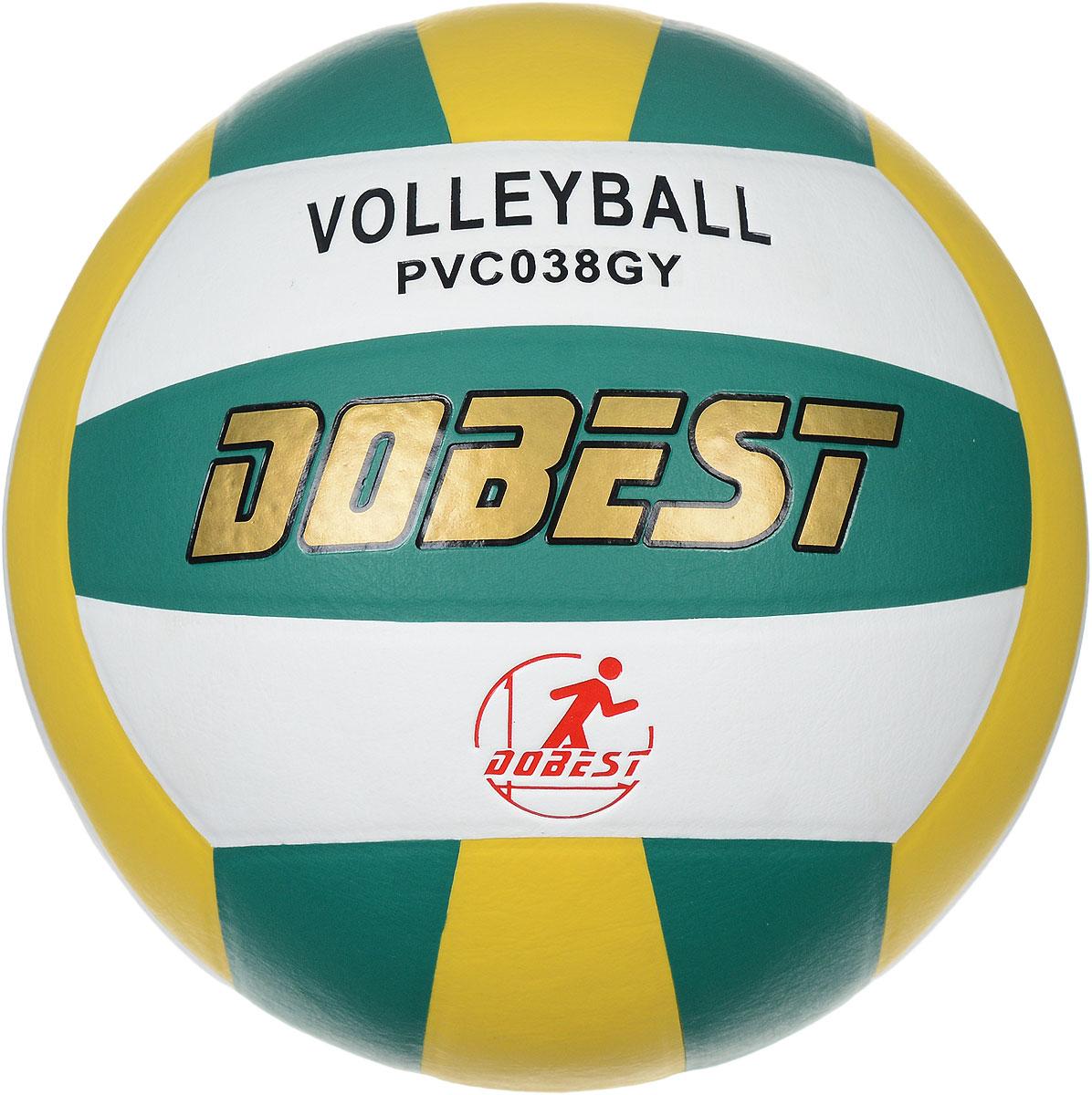 Мяч волейбольный Dobest, цвет: белый, зеленый, желтый. Размер 5PVC038Волейбольный мяч Dobest подойдет для любительской игры на улице и в зале. Изделие выполнено из прочного поливинилхлорида, камера - резина. Панели клееные. Количество панелей: 18. Количество слоев: 4. Вес: 260-280 г. УВАЖЕМЫЕ КЛИЕНТЫ! Обращаем ваше внимание на тот факт, что мяч поставляется в сдутом виде. Насос не входит в комплект.
