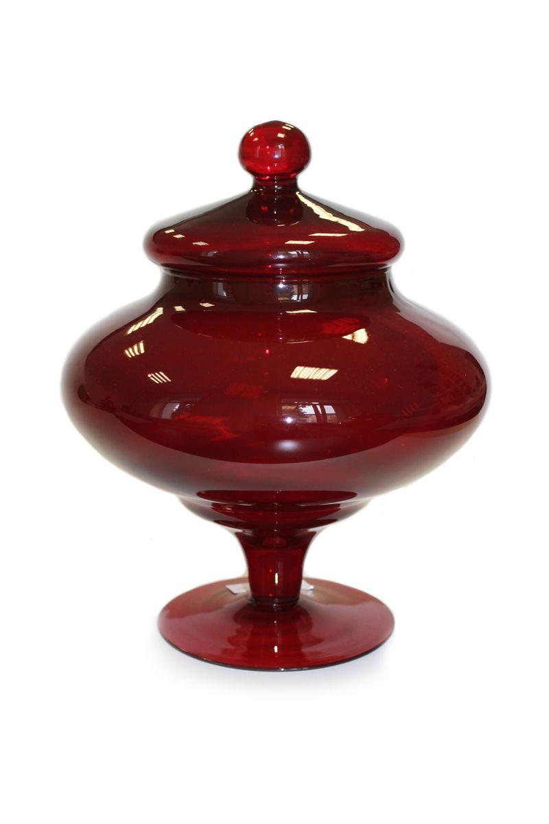 Ваза с крышкой декоративная PROFFI HOME H36, цвет темно-бордовыйPH3883