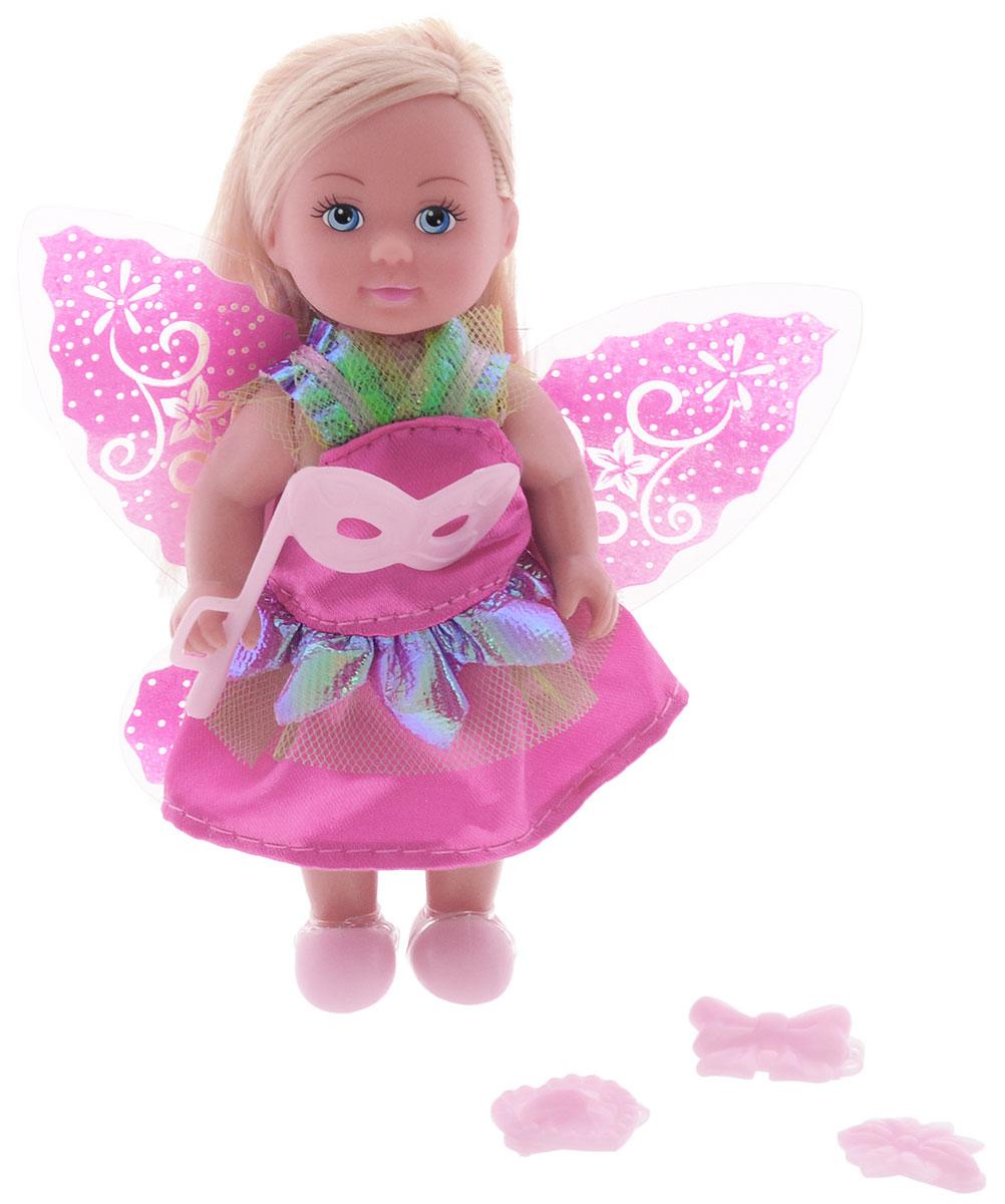 Simba Мини-кукла Еви фея цвет платья малиновый5736592_малиновое платьеМини-кукла Еви фея порадует любую девочку и надолго увлечет ее. Руки и ноги и куклы подвижны, благодаря чему ей можно придавать разнообразные позы. Малышка Еви одета в блестящее платье с крылышками. Волшебный наряд дополняют карнавальная маска и различные заколочки для волос. Вашей дочурке непременно понравится заплетать длинные белокурые волосы куклы, придумывая разнообразные прически. Игры с куклой способствуют эмоциональному развитию, помогают формировать воображение и художественный вкус, а также разовьют в вашей малышке чувство ответственности и заботы. Великолепное качество исполнения делают эту куколку чудесным подарком к любому празднику.