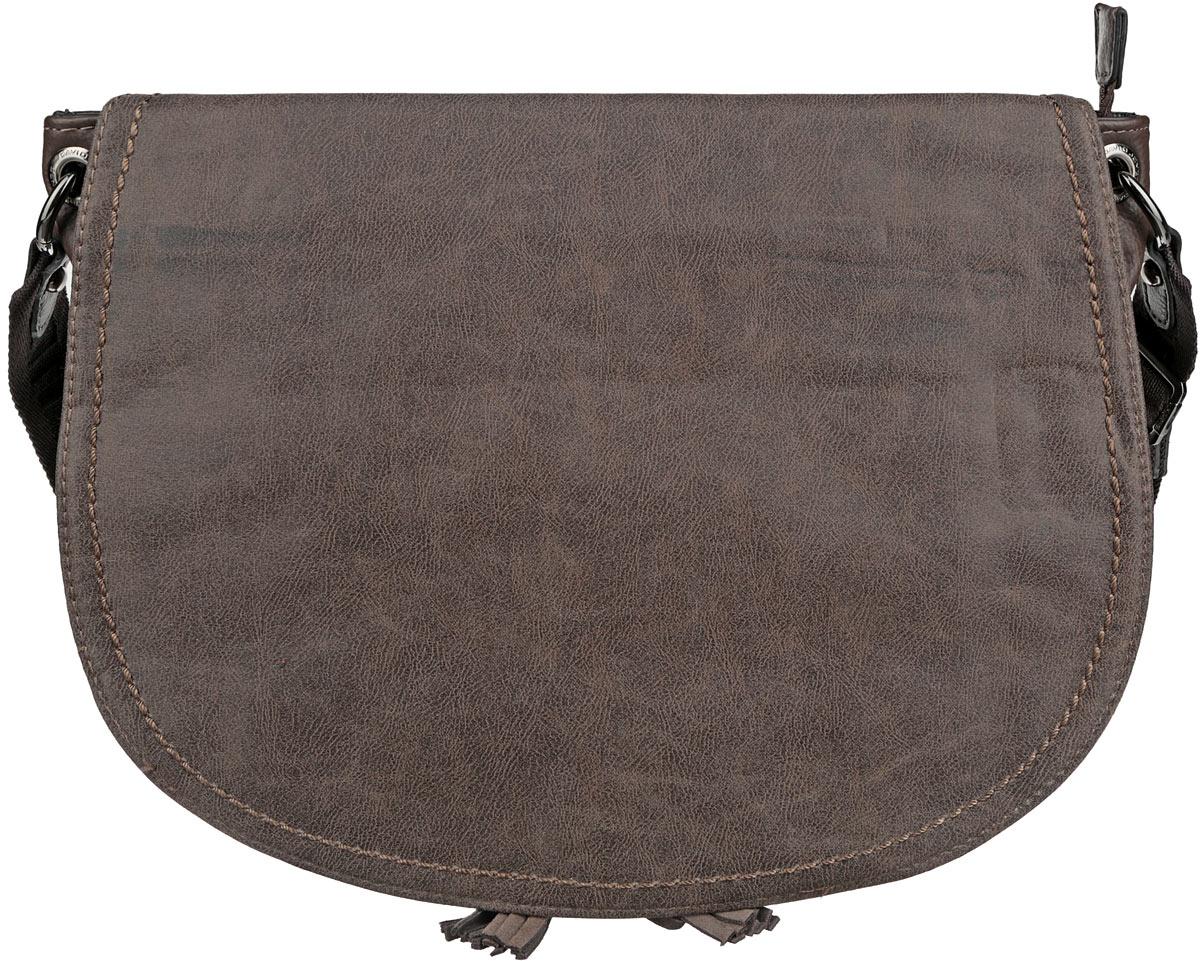 Сумка кросс-боди женская David Jones, цвет: темно-коричневый, серо-коричневый. 3968-23968-2 D/TAUPEСтильная женская сумка David Jones выполнена из высококачественной искусственной кожи. Модель имеет одно отделение, которое закрывается на застежку-молнию. Внутри находится прорезной карман на застежке-молнии и два накладных открытых кармана. Закрывается изделие на клапан с магнитной кнопкой. Сумка оформлена декоративными подвесками. Снаружи, на задней стенке имеется прорезной карман на застежке-молнии. Изделие оснащено текстильным плечевым ремнем, который регулируется по длине. Такая сумка позволит вам подчеркнуть свою индивидуальность, и сделает ваш образ изысканным и завершенным.