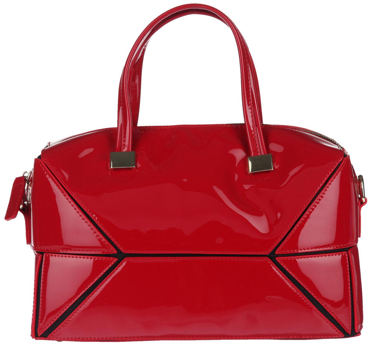 Сумка женская Milana, цвет: красный, черный. 152620-3-740152620-3-740Стильная сумка Milana, выполнена из искусственной лакированной кожи и текстиля, оформлена металлической фурнитурой. Изделие содержит одно отделение, которое закрывается на молнию. Внутри изделия расположены: два накладных кармана и врезной карман на молнии. Изделие оснащено двумя практичными ручками и съемным плечевым ремнем регулируемой длины, которые крепятся к сумке при помощи металлической фурнитуры и позволят носить изделие, как в руках, так и на плече. Дно сумки дополнено металлическими ножками. Элегантная сумка идеально дополнит ваш образ и подчеркнет индивидуальность стиля.