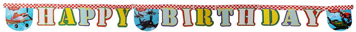 Procos Гирлянда-буквы Happy Birthday Самолеты1505-0583Гирлянда-буквы Procos Happy Birthday: Самолеты выполнена из картона и украшена яркими изображениями героев мультфильма Самолеты. Карточки скрепляются друг с другом с помощью подвижных металлических соединений. Крайние карточки имеют ниточные петли для удобства крепления гирлянды. Такая гирлянда украсит ваш праздник и подарит имениннику отличное настроение. Длина гирлянды: 190 см. Средний размер карточки: 15 см х 15 см.