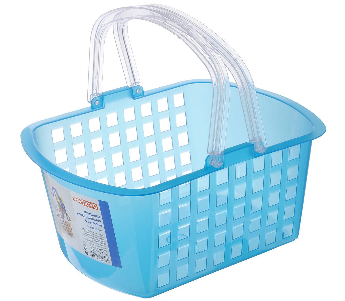 Корзинка универсальная Econova, цвет: голубой, 31 х 24 х 15 см193415_голубойУниверсальная корзина Econova, изготовленная из высококачественного прочного пластика, предназначена для хранения мелочей в ванной, на кухне, даче или гараже. Изделие оснащено двумя удобными складными ручками. Это легкая корзина со сплошным дном, жесткой кромкой и небольшими отверстиями позволяет хранить мелкие вещи, исключая возможность их потери.