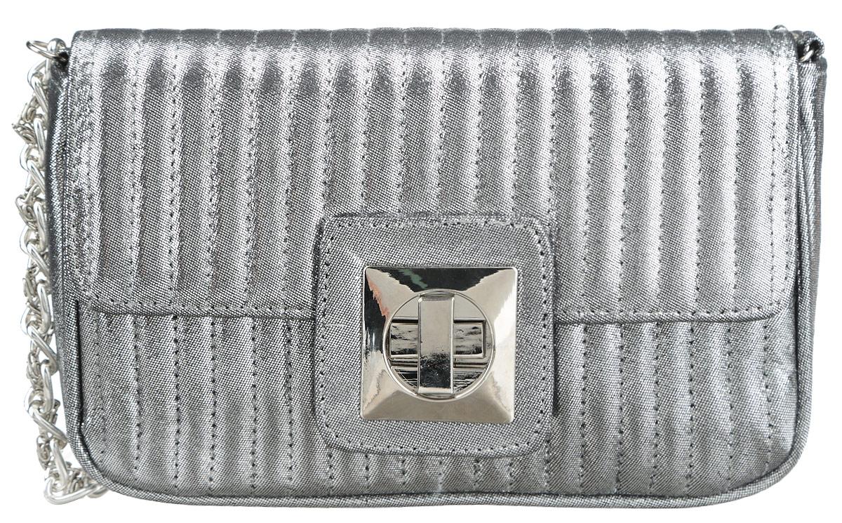 Сумка женская Eleganzza, цвет: серебристый. ZZ-13648-2ZZ-13648-2Стильная женская сумка Eleganzza выполнена из искусственной кожи и оформлена прострочкой. Изделие имеет одно основное отделение, внутри которого имеется открытый накладной карман. Закрывается сумка на клапан с поворотным замком. Модель оснащена плечевым ремнем в виде цепочки. Роскошная сумка внесет элегантные нотки в ваш образ и подчеркнет ваше отменное чувство стиля.