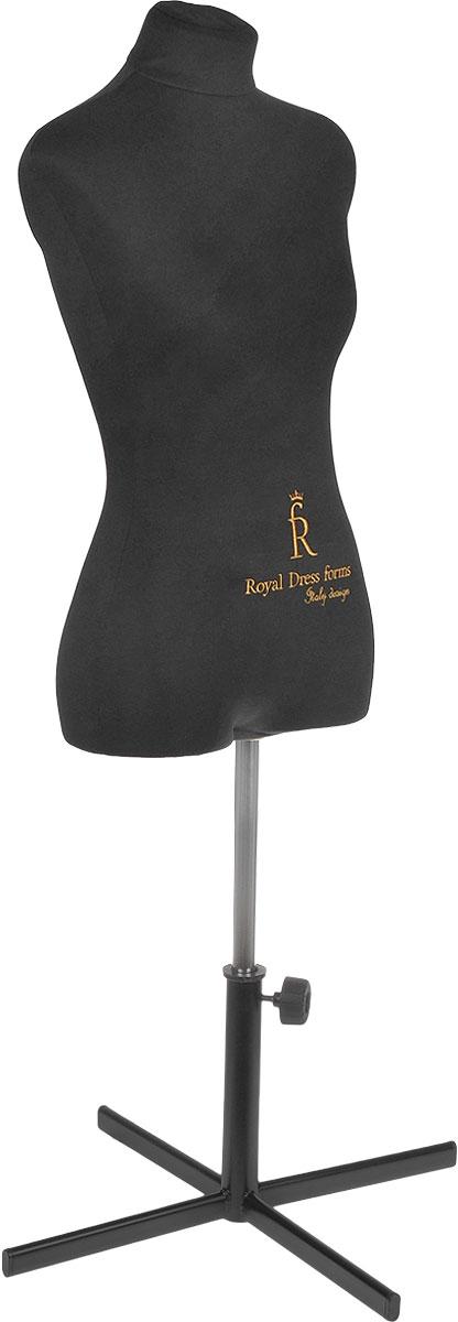 Манекен портновский Royal Dress forms Christina, с подставкой, женский, цвет: черный. Размер 424607824220421Манекен портновский Royal Dress forms Christina выполнен из эластичного полимерного материала и трикотажа. Основные преимущества: - детальные формы человеческого тела; - манекен не боится высоких температур, поэтому на нем можно отпаривать одежду, не боясь за деформацию основы; - можно накалывать изделия булавками; - можно сжимать, чтобы надеть нерастяжимые изделия; - не боится падений и сколов; - съемная обтяжка. К манекену прилагается изящная подставка Royal Dress forms Звезда, выполненная из металла, с двойной регулировкой манекена по высоте в пределах 80 см. Объем груди: 84 см. Объем талии: 67 см. Объем бедер: 92 см. Высота подставки: 35 см. Ширина подставки: 57 см. Длина хромированной трубы: 100 см.