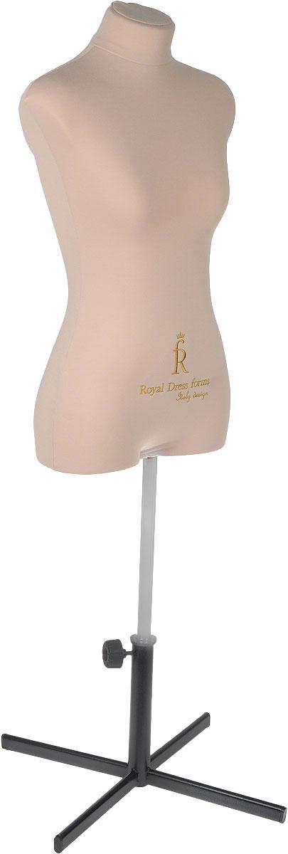 Манекен портновский Royal Dress forms Christina, с подставкой, женский, цвет: бежевый. Размер 424607824210422Манекен портновский Royal Dress forms Christina выполнен из эластичного полимерного материала и трикотажа. Основные преимущества: - детальные формы человеческого тела; - манекен не боится высоких температур, поэтому на нем можно отпаривать одежду, не боясь за деформацию основы; - можно накалывать изделия булавками; - можно сжимать, чтобы надеть нерастяжимые изделия; - не боится падений и сколов; - съемная обтяжка. К манекену прилагается изящная подставка Royal Dress forms Звезда, выполненная из металла, с двойной регулировкой манекена по высоте в пределах 80 см. Объем груди: 84 см. Объем талии: 67 см. Объем бедер: 92 см. Высота подставки: 35 см. Ширина подставки: 57 см. Длина хромированной трубы: 100 см.