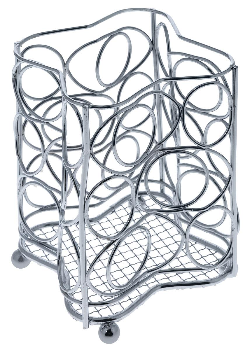 Подставка для столовых приборов Mayer & Boch, 10,5 см х 10,5 см х 16 см3415Квадратная подставка для столовых приборов Mayer & Boch, изготовленная из хромированной стали, оснащена четырьмя круглыми ножками, которые обеспечивают ей устойчивость на любой поверхности. Красивая подставка для столовых приборов выполнена в футуристическом дизайне. Она не займет много места, а столовые приборы будут всегда под рукой. Размеры поставки: 10,5 см х 10,5 см х 16 см.